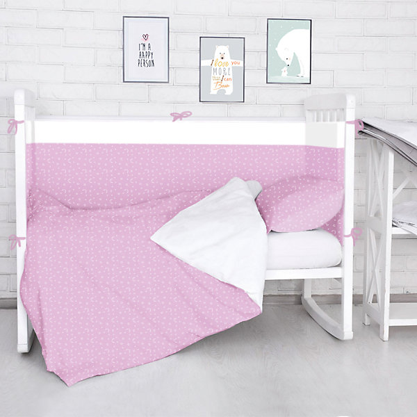 Борт в кроватку Луны, звездочки Baby Nice, розовыйПостельное белье в кроватку новорождённого<br>Борт в кроватку Луны, звездочки Baby Nice, розовый<br><br>Характеристики:<br><br>• В набор входит: 4 борта<br>• Состав постельного белья: 100% хлопок<br>• Состав наполнителя: периотек<br>• Размеры: 2 борта 60 * 35 см, 2 борта 120 * 35 см.<br>• Тип ткани: бязь.<br>• Для детей в возрасте: от 0 мес<br>• Страна производитель: Россия<br><br>Яркий и натуральный набор бортов из четырех частей от Объединенной Текстильной Компании, специализирующейся на производстве качественного постельного белья и принадлежностей по приемлемой цене. Нежная расцветка белыми лунами и звёздочками на нежном розовом фоне и с окантовкой из белой полоски идеально подойдет и для девочек. <br><br>Бортики уберегут нежный сон ребенка и не позволят во сне просунуть ручку между перегородкой кроватки. Благодаря тому, что кроватка закрывает малыша со всех сторон вероятность того, что ребёнка продует от сквозняка снижается. Все составные части набора изготовлены из 100% хлопка, приятны к прикосновению и не вызывают аллергии. Набор станет отличным подарком для новорожденного. Добавьте атмосферы уюта и комфорта вместе с новым бортом в кроватку!<br><br>Борт в кроватку Луны, звездочки Baby Nice, розовый можно купить в нашем интернет-магазине<br>Ширина мм: 230; Глубина мм: 250; Высота мм: 40; Вес г: 700; Возраст от месяцев: 0; Возраст до месяцев: 12; Пол: Женский; Возраст: Детский; SKU: 5454344;