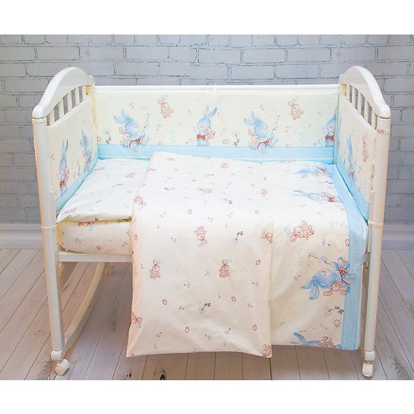 Борт в кроватку элит, Зайка Baby Nice, голубойПостельное белье в кроватку новорождённого<br>Борт в кроватку элит, Зайка Baby Nice, голубой<br><br>Характеристики:<br><br>• В набор входит: 4 борта<br>• Состав постельного белья: 100% хлопок<br>• Состав наполнителя: периотек<br>• Размеры: 2 борта 60 * 35 см, 2 борта 120 * 35 см.<br>• Тип ткани: бязь.<br>• Для детей в возрасте: от 0 до 4-х лет<br>• Страна производитель: Россия<br><br>Яркий и натуральный набор бортов из четырех частей от Объединенной Текстильной Компании, специализирующейся на производстве качественного постельного белья и принадлежностей по приемлемой цене. Нежная расцветка с голубыми и красными зайчиками на кремовом фоне и с окантовкой из голубой полоски идеально подойдет для мальчиков. <br><br>Бортики уберегут нежный сон ребенка и не позволят во сне просунуть ручку между перегородкой кроватки. Благодаря тому, что кроватка закрывает малыша со всех сторон вероятность того, что ребёнка продует от сквозняка снижается. Все составные части набора изготовлены из 100% хлопка, приятны к прикосновению и не вызывают аллергии. Набор станет отличным подарком для новорожденного. Добавьте атмосферы уюта и комфорта вместе с новым бортом в кроватку!<br><br>Борт в кроватку элит, Зайка Baby Nice, голубой можно купить в нашем интернет-магазине<br><br>Ширина мм: 230<br>Глубина мм: 250<br>Высота мм: 40<br>Вес г: 700<br>Возраст от месяцев: 0<br>Возраст до месяцев: 12<br>Пол: Мужской<br>Возраст: Детский<br>SKU: 5454347