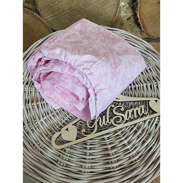Простынь на резинке, розовый