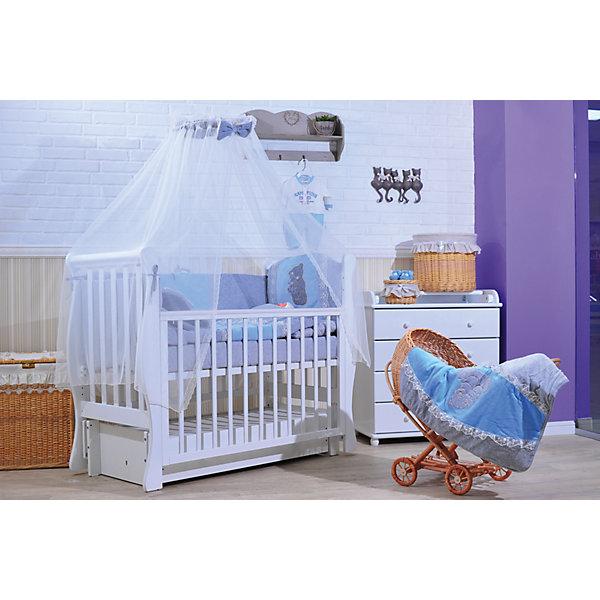 Комплект в кроватку 6 предметов, Gulsara,  голубойПостельное белье в кроватку новорождённого<br>Комплект в кроватку. Ткань: велюр, трикотаж, сетка<br>-комплект бортов 360*40*55 <br>-простынь на резинке 100*140 <br>-одеяло-плед 110*140 <br>-наволочка 40*60 <br>-подушка 40*60 <br>-балдахин вуаль 400*160<br>Ширина мм: 620; Глубина мм: 180; Высота мм: 510; Вес г: 2500; Возраст от месяцев: 0; Возраст до месяцев: 6; Пол: Мужской; Возраст: Детский; SKU: 5465334;
