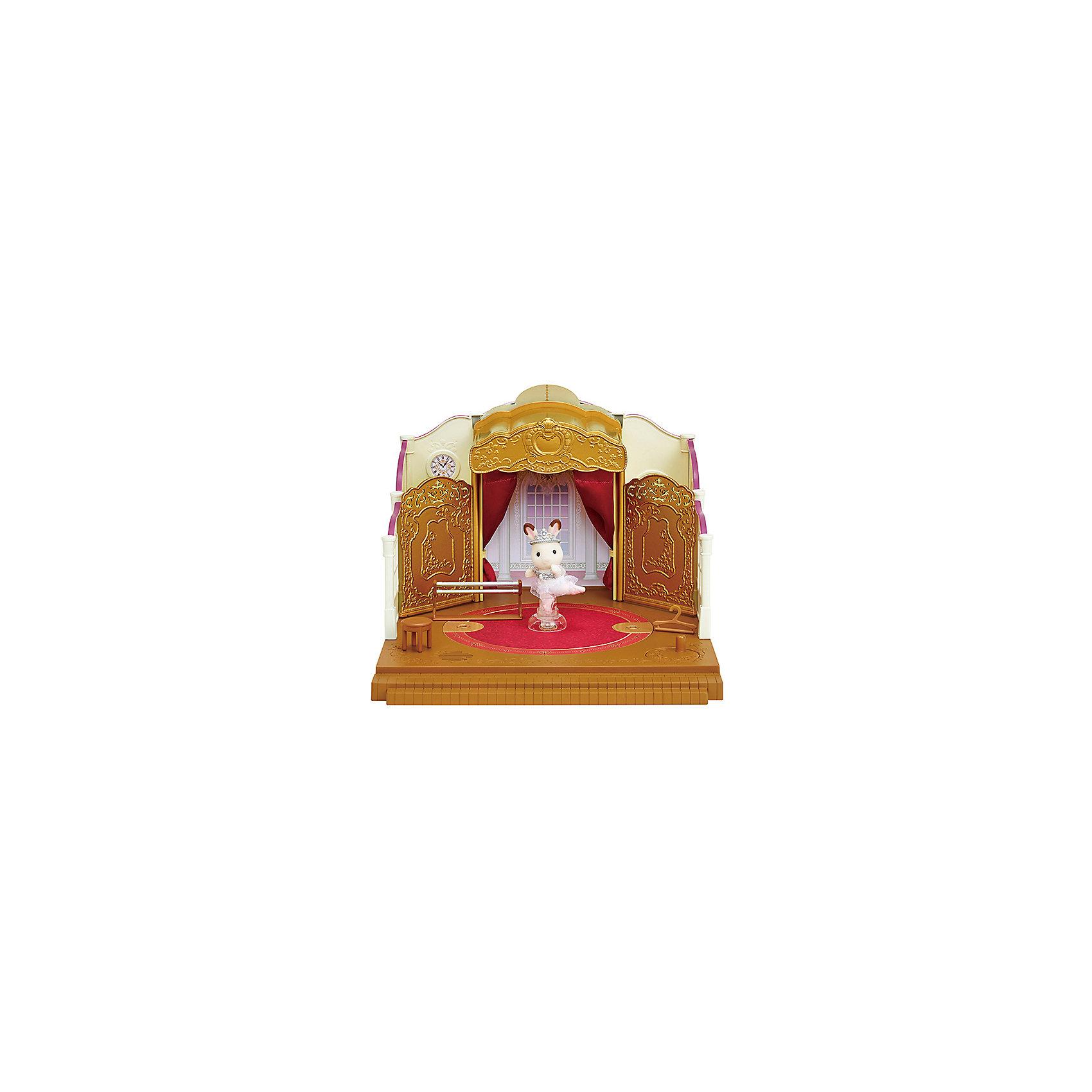 Набор Школа балета, Sylvanian FamiliesSylvanian Families<br>Характеристики:<br><br>• Материал: ПВХ с полимерным напылением, текстиль <br>• Комплектация: здание балетной школы, пуанты, пачка, реквизит, балерина-кролик<br>• Размер фигурки: ? 7 см<br>• Голова и лапы – подвижные<br>• Музыкальное сопровождение<br>• Предусмотрен вращающийся механизм<br>• Особенности ухода: фигурку можно купать, одежда – ручная стирка<br>• Размер упаковки (Д*Ш*В): 38*22,5*35 см<br>• Вес: 1 кг 800 г<br>• Упаковка: картонная коробка с блистером<br><br>Фигурки выполнены из экологически безопасного материала, сверху покрыты напылением, придающим животным бархатистую поверхность. Фигурки можно купать, одежду – стирать. У персонажей подвижные головы и лапки, что делает их особенно правдоподобными и удобными в играх. Набор Школа балета, Sylvanian Families состоит из здания школы балета с необходимым реквизитом для проведения репетиций и концертов. В центре школы имеется сцена с подвижным механизмом, при вращении которой звучит классическая музыка. В наборе предусмотрен кролик в образе балерины.<br><br>Набор Школа балета, Sylvanian Families можно купить в нашем интернет-магазине<br><br>Ширина мм: 392<br>Глубина мм: 352<br>Высота мм: 233<br>Вес г: 1862<br>Возраст от месяцев: 48<br>Возраст до месяцев: 96<br>Пол: Женский<br>Возраст: Детский<br>SKU: 5467539