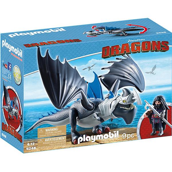 Конструктор Playmobil Драконы Драго и ГромокоготьПластмассовые конструкторы<br>Характеристики товара:<br><br>• возраст: от 4 лет;<br>• материал: пластик;<br>• в комплекте: фигурка, дракон, аксессуары;<br>• высота фигурки: 7 см;<br>• размер дракона: 18 см;<br>• размер упаковки: 34,8х24,8х12,5 см;<br>• вес упаковки: 573 гр.;<br>• страна бренда: Германия.<br><br>Игровой набор «Драконы: Драго и Громокоготь» Playmobil создан по мотивам известного мультфильма «Как приручить дракона». В набор входят фигурка охотника Драго и его дракон Громокоготь. Дракон способен двигать челюстью, поворачивать голову, размахивать крыльями и хвостом. У фигурки подвижные руки и ноги, в руках Драго держит меч. Плащ с героя легко снимается.<br><br>Игровой набор «Драконы: Драго и Громокоготь» Playmobil можно приобрести в нашем интернет-магазине.<br>Ширина мм: 348; Глубина мм: 246; Высота мм: 129; Вес г: 490; Возраст от месяцев: 48; Возраст до месяцев: 144; Пол: Унисекс; Возраст: Детский; SKU: 5467582;