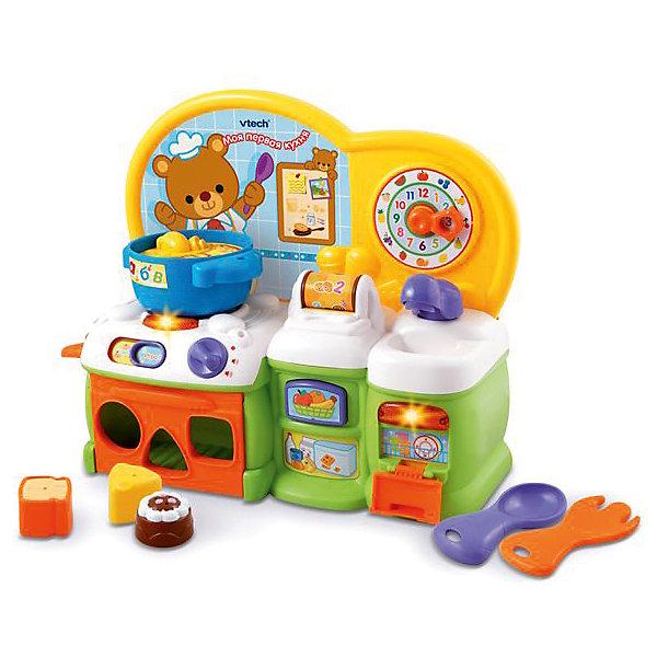 Моя первая кухня, VtechДетские кухни<br>Характеристики:<br><br>• Материал: пластик <br>• Комплектация: варочная поверхность, духовка, раковина с посудомоечной машиной, кастрюля, ложка, вилка, кусочек сыра, хлеб, шоколадный кекс<br>• Наличие музыки<br>• Световые эффекты<br>• 2 режима: игра и обучение<br>• Отсутствие острых углов<br>• Батарейки: 2 шт. типа АА (предусмотрены в комплекте)<br>• Размер кухни (длина): 30 см<br>• Размер упаковки (Д*Ш*В): 40,5*14,5*32,5 см<br>• Вес: 1 кг 930 г<br>• Подарочная упаковка<br>• Особенности ухода: допускается сухая и влажная чистка<br><br>Моя первая кухня, Vtech – это многофункциональная интерактивная игрушка от французского производителя, который является мировым лидером по выпуску электронных обучающих устройств и игрушек. Игрушка выполнена в виде кухни, оснащенной различными обучающими и игровыми элементами: таймер, часы с вращающимися стрелками, духовка-сортер, озвученный кран и посудомоечная машина. В комплекте предусмотрены столовые приборы и , на разных гранях нанесены рисунки, буквы или выпуклые элементы. Все звуковые элементы имитируют реальные звуки кухни: кипящий бульон, льющаяся вода, тиканье часов и др.<br><br>Мою первую кухню, Vtech можно купить в нашем интернет-магазине.<br>Ширина мм: 406; Глубина мм: 330; Высота мм: 148; Вес г: 1550; Возраст от месяцев: 6; Возраст до месяцев: 36; Пол: Унисекс; Возраст: Детский; SKU: 5471068;