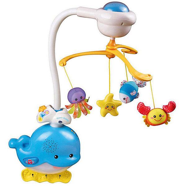Мобиль для засыпания Звуки океана, VtechИгрушки для новорожденных<br>Характеристики:<br><br>• Материал: пластик, текстиль<br>• Комплектация: ночник, каруселька с функцией проектора, 4 подвесные игрушки<br>• Количество мелодий: 37<br>• Звуки океана<br>• Автоматическое включение-выключение<br>• Функция регулировки громкости и света<br>• Батарейки: 4 шт. типа АА (предусмотрены в комплекте)<br>• Размер упаковки (Д*Ш*В): 41*10*33 см<br>• Вес: 1 кг 200 г<br>• Подарочная упаковка<br>• Особенности ухода: допускается сухая и влажная чистка<br><br>Мобиль для засыпания Звуки океана, Vtech – это многофункциональная интерактивная игрушка от французского производителя, который является мировым лидером по выпуску электронных обучающих устройств и игрушек. Мобиль состоит из ночника в форме кита, карусельки с функцией проекции изображений на потолок и набора подвесных игрушек. Мобиль надежно крепится к бортикам кроватки или колыбельки. Оснащен функцией регулировки звука и света. В памяти устройства записано 37 мелодий и звуков океана. Встроенный сенсорный датчик обеспечивает автоматическое выключение и включение мобиля. Подвесные игрушки – рыбка, осьминог, краб, звезда – выполнены из текстиля ярких расцветок, их можно крепить как на карусельке, так и на ночнике.<br><br>Мобиль для засыпания Звуки океана, Vtech можно купить в нашем интернет-магазине.<br>Ширина мм: 406; Глубина мм: 330; Высота мм: 100; Вес г: 1550; Возраст от месяцев: 0; Возраст до месяцев: 24; Пол: Унисекс; Возраст: Детский; SKU: 5471070;