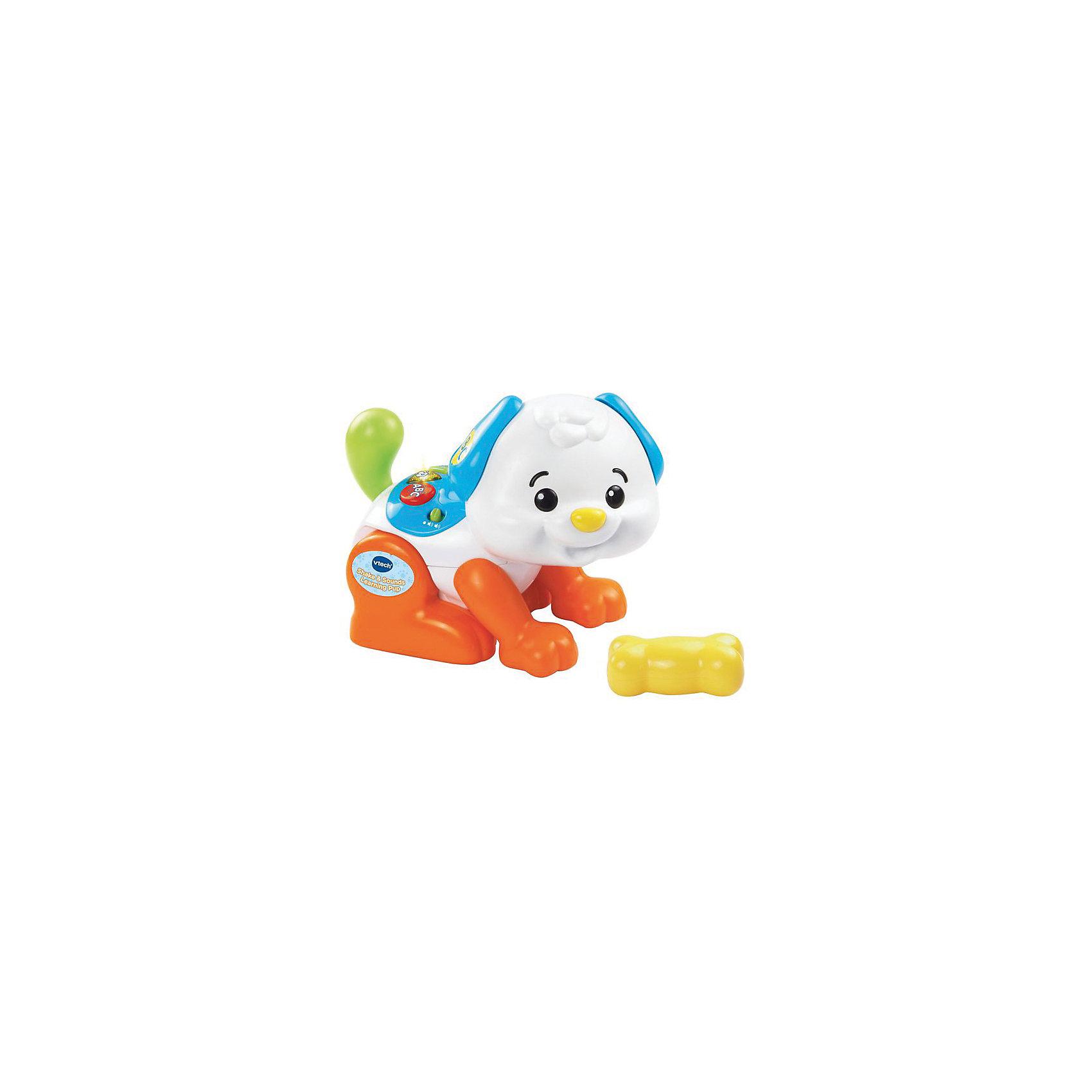 Танцубщий щенок, VtechИнтерактивные игрушки для малышей<br>Характеристики:<br><br>• Материал: пластик <br>• Комплектация: щенок, косточка<br>• Наличие музыки<br>• Игрушка выполняет различные движения<br>• 2 режима: игра и обучение<br>• Не имеет острых углов<br>• Батарейки: 4 шт. типа АА (предусмотрены в комплекте)<br>• Размер щенка (длина): 21 см, косточка – 9,5 см<br>• Размер упаковки (Д*Ш*В): 30*13*29 см<br>• Вес: 950 г<br>• Подарочная упаковка<br>• Особенности ухода: допускается сухая и влажная чистка<br><br>Танцующий щенок, Vtech – это многофункциональная интерактивная игрушка от французского производителя, который является мировым лидером по выпуску электронных обучающих устройств и игрушек. Игрушка выполнена в виде щенка. На спине у него имеются три кнопки, при нажатии на которые включаются различные режимы игры: обучение формам, цвету, счету и алфавиту. В памяти устройства записаны две детские песенки. Если щенка поманить косточкой, он может вставать на задние лапки и поворачиваться. <br><br>Танцующего щенка, Vtech можно купить в нашем интернет-магазине.<br><br>Ширина мм: 300<br>Глубина мм: 279<br>Высота мм: 133<br>Вес г: 1550<br>Возраст от месяцев: 12<br>Возраст до месяцев: 36<br>Пол: Унисекс<br>Возраст: Детский<br>SKU: 5471071