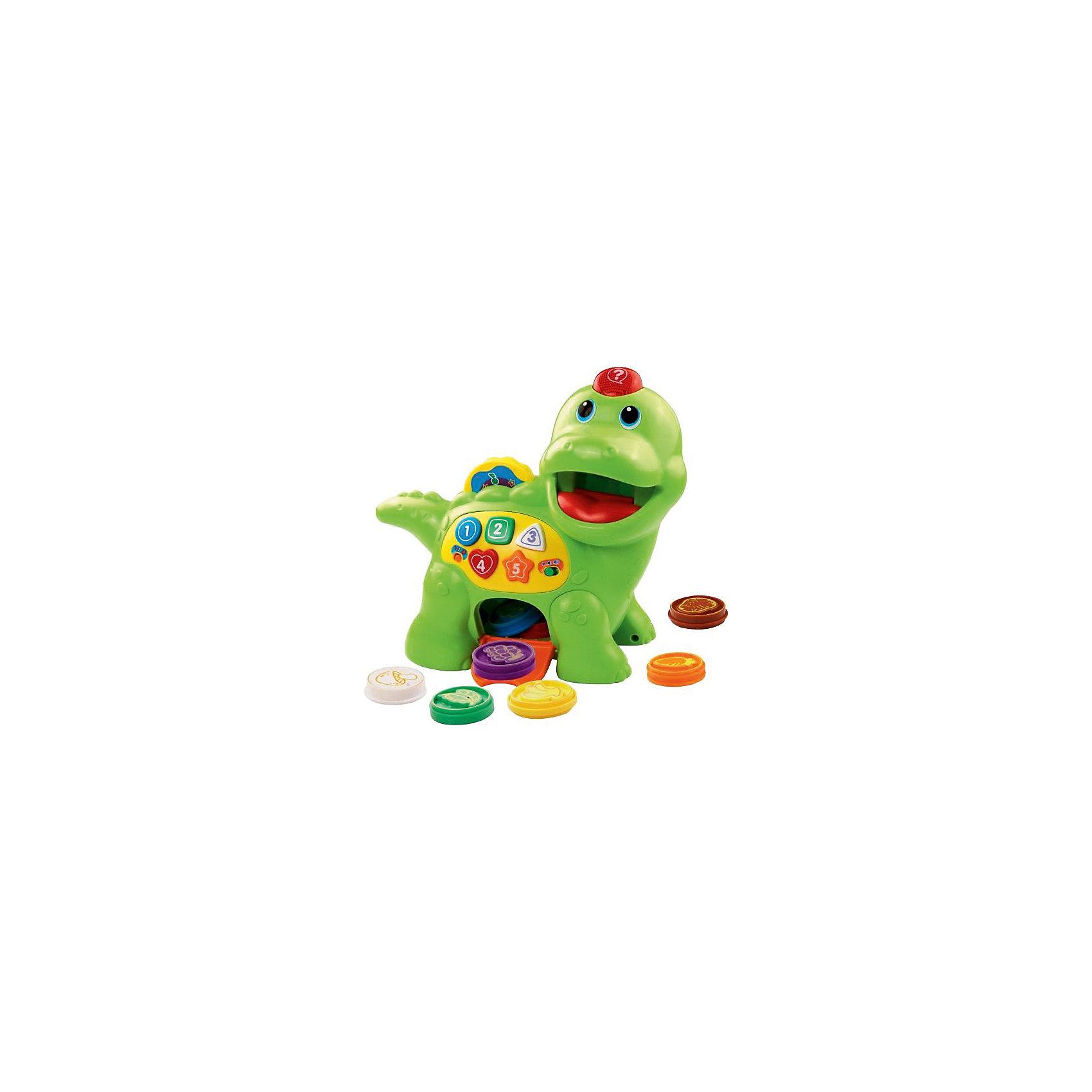 Динозаврик Покорми меня, VtechИнтерактивные игрушки для девочек<br>Характеристики:<br><br>• Материал: пластик <br>• Комплектация: динозаврик, 8 фишек<br>• Количество мелодий и звуков: &gt; 130<br>• Игрушка выполняет различные движения<br>• 2 режима игры<br>• Световые эффекты<br>• Батарейки: 2 шт. типа АА (предусмотрены в комплекте)<br>• Размер динозаврика (длина): 29 см<br>• Размер упаковки (Д*Ш*В): 30*14*25 см<br>• Вес: 1 кг 060 г<br>• Подарочная упаковка<br>• Особенности ухода: допускается сухая и влажная чистка<br><br>Динозаврик Покорми меня, Vtech – это многофункциональная интерактивная игрушка от французского производителя, который является мировым лидером по выпуску электронных обучающих устройств и игрушек. Игрушка выполнена в виде динозаврика, которого можно кормить. На боку у него имеется крышечка, через которую можно достать фишки. Во время кормления динозаврик рассказывает о том продукте, который был изображен на проглоченной фишке. На спинке у него предусмотрены кнопочки, которые запускают разные режимы игры. В памяти устройства записаны более ста тридцати стишков, песенок и звуков. <br><br>ДинозаврикаПокорми меня, Vtech можно купить в нашем интернет-магазине.<br><br>Ширина мм: 300<br>Глубина мм: 279<br>Высота мм: 133<br>Вес г: 1550<br>Возраст от месяцев: 12<br>Возраст до месяцев: 48<br>Пол: Унисекс<br>Возраст: Детский<br>SKU: 5471073