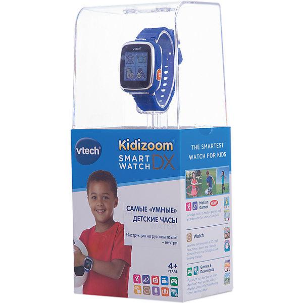 Цифровые часы для детей Kidizoom Smartwatch DX, синие, VtechУмные часы<br>Характеристики:<br><br>• Материал: пластик <br>• Цифровые часы<br>• Встроенный фотоаппарат<br>• Видеосъемка и обработка изображений<br>• Запись голоса<br>• Встроенный Li-ion аккумулятор<br>• 5 встроенных игр<br>• Объем памяти устройства: 256 МБ (на 800 фото)<br>• Длина ремешка: 22 см<br>• Размер дисплея 5*5 см<br>• Особенности ухода: допускается сухая чистка<br><br>Цифровые часы для детей Kidizoom Smartwatch DX, синие, Vtech – это многофункциональный интерактивный гаджет от французского производителя, который является мировым лидером по выпуску электронных обучающих устройств и игрушек. Эти уникальные часы относятся к последнему поколению обучающих электронных устройств для детей. <br><br>Многофункциональные часы включают в себя множество полезных и необходимых функций, которые позволят вашему ребенку не только соблюдать режим, но и осваивать современные технологии. В часы встроена видеокамера, фотоаппарат, будильник, шагомер, калькулятор, таймер, диктофон и календарь. Разнообразные настройки позволяют оформить дисплей с учетом индивидуального вкуса.<br><br>Корпус и элементы часов выполнены из прорезиненного пластика, устойчивого к появлению царапин и сколов. Размер ремешка у часов универсальный. Часы оснащены аккумулятором, который способен держать уровень заряд до 2-х недель. <br><br>Цифровые часы для детей Kidizoom Smartwatch DX, синие, Vtech можно купить в нашем интернет-магазине.<br><br>Ширина мм: 127<br>Глубина мм: 279<br>Высота мм: 88<br>Вес г: 576<br>Возраст от месяцев: 48<br>Возраст до месяцев: 108<br>Пол: Унисекс<br>Возраст: Детский<br>SKU: 5471076