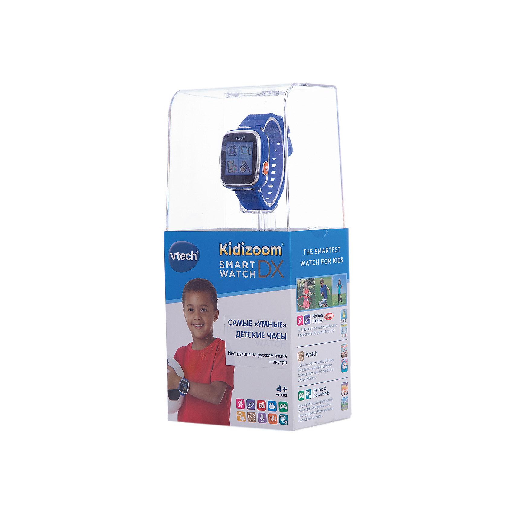 Цифровые часы для детей Kidizoom Smartwatch DX, синие, VtechДетская электроника<br>Характеристики:<br><br>• Материал: пластик <br>• Цифровые часы<br>• Встроенный фотоаппарат<br>• Видеосъемка и обработка изображений<br>• Запись голоса<br>• Встроенный Li-ion аккумулятор<br>• 5 встроенных игр<br>• Объем памяти устройства: 256 МБ (на 800 фото)<br>• Длина ремешка: 22 см<br>• Размер дисплея 5*5 см<br>• Особенности ухода: допускается сухая чистка<br><br>Цифровые часы для детей Kidizoom Smartwatch DX, синие, Vtech – это многофункциональный интерактивный гаджет от французского производителя, который является мировым лидером по выпуску электронных обучающих устройств и игрушек. Эти уникальные часы относятся к последнему поколению обучающих электронных устройств для детей. <br><br>Многофункциональные часы включают в себя множество полезных и необходимых функций, которые позволят вашему ребенку не только соблюдать режим, но и осваивать современные технологии. В часы встроена видеокамера, фотоаппарат, будильник, шагомер, калькулятор, таймер, диктофон и календарь. Разнообразные настройки позволяют оформить дисплей с учетом индивидуального вкуса.<br><br>Корпус и элементы часов выполнены из прорезиненного пластика, устойчивого к появлению царапин и сколов. Размер ремешка у часов универсальный. Часы оснащены аккумулятором, который способен держать уровень заряд до 2-х недель. <br><br>Цифровые часы для детей Kidizoom Smartwatch DX, синие, Vtech можно купить в нашем интернет-магазине.<br><br>Ширина мм: 127<br>Глубина мм: 279<br>Высота мм: 88<br>Вес г: 576<br>Возраст от месяцев: 48<br>Возраст до месяцев: 108<br>Пол: Унисекс<br>Возраст: Детский<br>SKU: 5471076