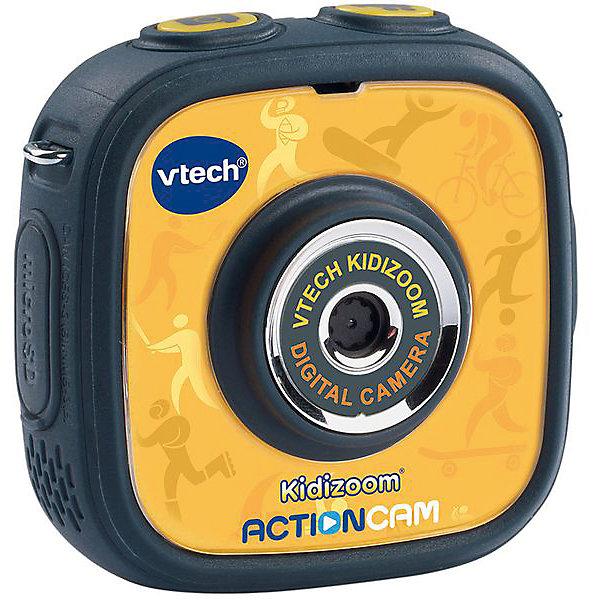 Цифровая камера Kidizoom Action Cam, VtechДетские фотоаппараты<br>Характеристики:<br><br>• Материал: пластик <br>• Комплектация: камера, держатель, крепление к велосипеду, насадка, клейкое плоское крепление, 2 двусторонние клейкие ленты,<br>micro-USB кабель, ремешок на запястье, инструкция<br>• Разрешение камеры: 0,3 Мп<br>• Водонепроницаемый корпус<br>• Съемки под водой на глубине до 1,5 м<br>• Анимационные эффекты<br>• Крепления для велосипеда, самоката, скейта<br>• 3 встроенные игры<br>• Объем памяти устройства: 128 МБ (на 600 фото)<br>• Размеры (Д*Ш*В): 20*8*27 см<br>• Вес: 300 г<br>• Особенности ухода: допускается сухая чистка<br><br>Цифровая камера Kidizoom Action Cam, Vtech – это многофункциональный интерактивный гаджет от французского производителя, который является мировым лидером по выпуску электронных обучающих устройств и игрушек. Эта уникальная камера относится к последнему поколению обучающих электронных устройств для детей. <br><br>Многофункциональное устройство включает в себя множество полезных и необходимых функций, которые позволят вашему ребенку осваивать современные технологии. Камера имеет компактный размер и легкий вес, в комплекте предусмотрено несколько типов крепления, благодаря чему ее можно брать с собой на велосипедные прогулки, в путешествия и экспедиции. <br><br>Большой объем памяти позволяет хранить до 600 снимков. Без подзарядки камера может непрерывно снимать видео в течение 2,5 часов. Различные встроенные функции позволят обрабатывать и оформлять изображения, создавать из них анимированные ролики.<br><br>Цифровую камеру Kidizoom Action Cam, Vtech можно купить в нашем интернет-магазине.<br>Ширина мм: 200; Глубина мм: 279; Высота мм: 78; Вес г: 1550; Возраст от месяцев: 48; Возраст до месяцев: 108; Пол: Унисекс; Возраст: Детский; SKU: 5471077;