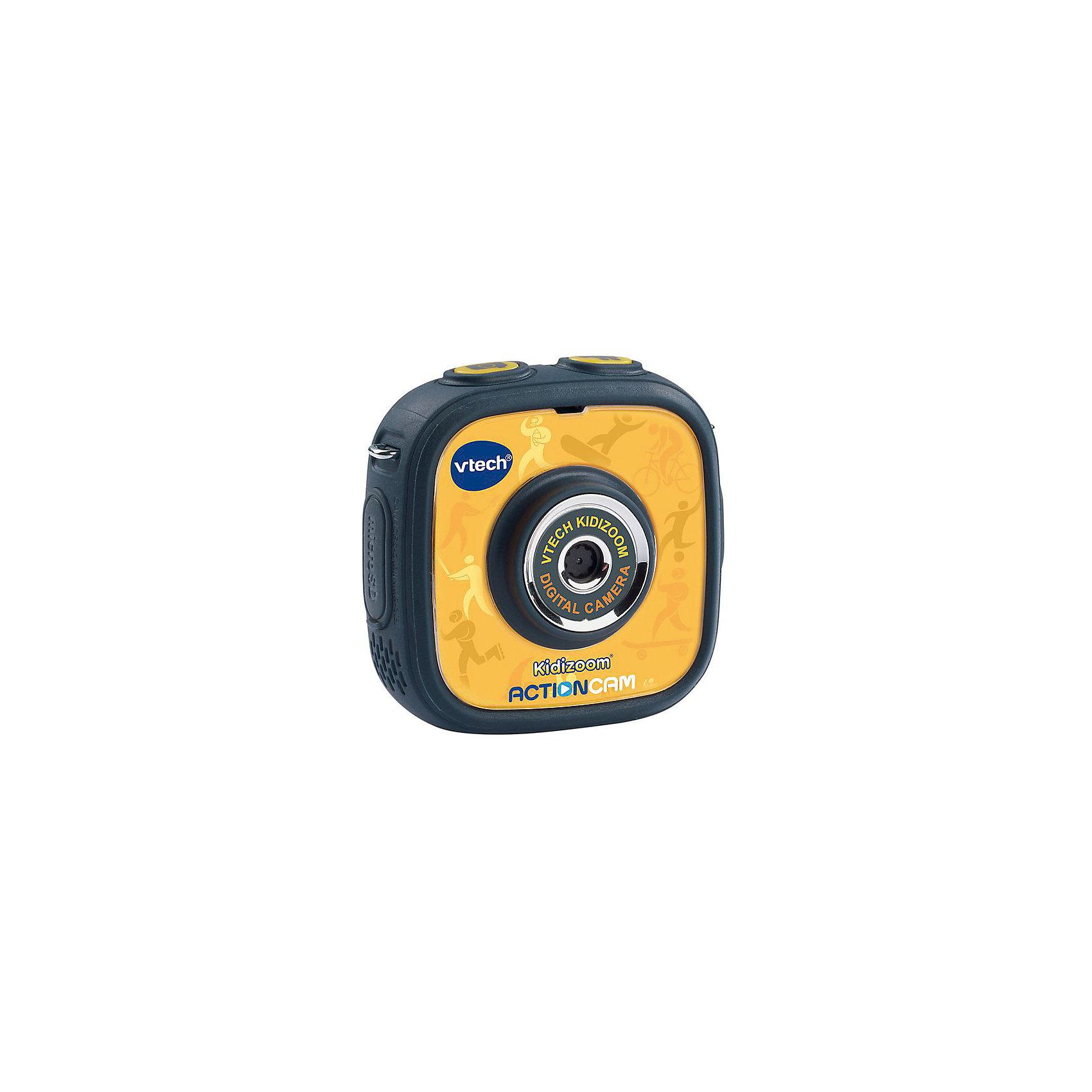 Цифровая камера Kidizoom Action Cam, VtechДетская электроника<br>Характеристики:<br><br>• Материал: пластик <br>• Комплектация: камера, держатель, крепление к велосипеду, насадка, клейкое плоское крепление, 2 двусторонние клейкие ленты,<br>micro-USB кабель, ремешок на запястье, инструкция<br>• Разрешение камеры: 0,3 Мп<br>• Водонепроницаемый корпус<br>• Съемки под водой на глубине до 1,5 м<br>• Анимационные эффекты<br>• Крепления для велосипеда, самоката, скейта<br>• 3 встроенные игры<br>• Объем памяти устройства: 128 МБ (на 600 фото)<br>• Размеры (Д*Ш*В): 20*8*27 см<br>• Вес: 300 г<br>• Особенности ухода: допускается сухая чистка<br><br>Цифровая камера Kidizoom Action Cam, Vtech – это многофункциональный интерактивный гаджет от французского производителя, который является мировым лидером по выпуску электронных обучающих устройств и игрушек. Эта уникальная камера относится к последнему поколению обучающих электронных устройств для детей. <br><br>Многофункциональное устройство включает в себя множество полезных и необходимых функций, которые позволят вашему ребенку осваивать современные технологии. Камера имеет компактный размер и легкий вес, в комплекте предусмотрено несколько типов крепления, благодаря чему ее можно брать с собой на велосипедные прогулки, в путешествия и экспедиции. <br><br>Большой объем памяти позволяет хранить до 600 снимков. Без подзарядки камера может непрерывно снимать видео в течение 2,5 часов. Различные встроенные функции позволят обрабатывать и оформлять изображения, создавать из них анимированные ролики.<br><br>Цифровую камеру Kidizoom Action Cam, Vtech можно купить в нашем интернет-магазине.<br><br>Ширина мм: 200<br>Глубина мм: 279<br>Высота мм: 78<br>Вес г: 1550<br>Возраст от месяцев: 48<br>Возраст до месяцев: 108<br>Пол: Унисекс<br>Возраст: Детский<br>SKU: 5471077