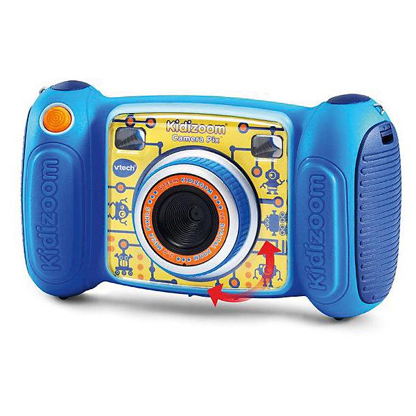 Цифровая камера Kidizoom Pix, голубая, VtechДетские фотоаппараты<br>Характеристики:<br><br>• Материал: пластик <br>• Комплектация: камера, кабель, браслет, инструкция<br>• Разрешение камеры: 0,3 Мп<br>• Встроенный диктофон с функциями изменения голоса<br>• Встроенные приложения для создания спецэффектов<br>• 3 встроенные игры<br>• Объем памяти устройства: 128 МБ (на 1000 фото)<br>• Размеры (Д*Ш*В): 16,2*5,8*9,1 см<br>• Вес: 380 г<br>• Особенности ухода: допускается сухая чистка<br><br>Цифровая камера Kidizoom Pix, голубая, Vtech – это многофункциональный интерактивный гаджет от французского производителя, который является мировым лидером по выпуску электронных обучающих устройств и игрушек. <br><br>Эта уникальная камера относятся к последнему поколению цифровых обучающих устройств для детей. Многофункциональное устройство включает в себя множество полезных и необходимых функций, которые позволят вашему ребенку осваивать современные технологии в фото и видеосъемке.<br><br> Камера имеет компактный размер и легкий вес, благодаря чему ее можно брать с собой на велосипедные прогулки, в путешествия или экспедиции. Большой объем памяти позволяет хранить до 1000 снимков. Различные встроенные функции позволят обрабатывать и оформлять изображения, создавать из них анимированные ролики. <br><br>Цифровую камеру Kidizoom Pix, голубая, Vtech можно купить в нашем интернет-магазине.<br><br>Ширина мм: 203<br>Глубина мм: 279<br>Высота мм: 71<br>Вес г: 600<br>Возраст от месяцев: 72<br>Возраст до месяцев: 108<br>Пол: Унисекс<br>Возраст: Детский<br>SKU: 5471081