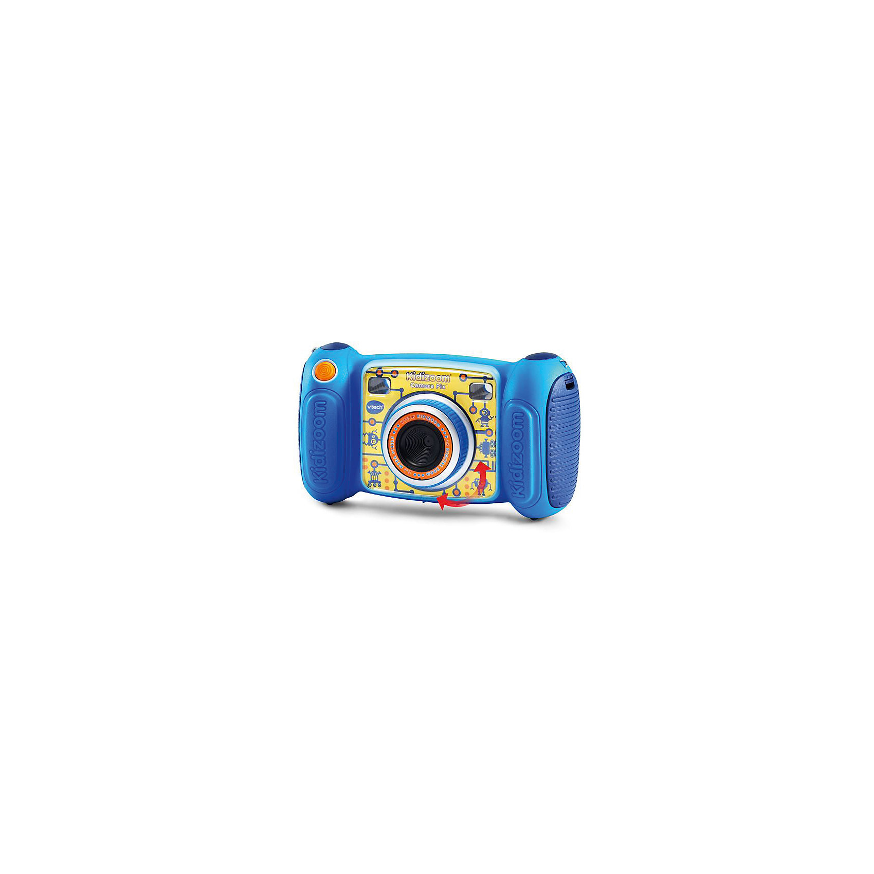 Цифровая камера Kidizoom Pix, голубая, VtechДетская электроника<br>Характеристики:<br><br>• Материал: пластик <br>• Комплектация: камера, кабель, браслет, инструкция<br>• Разрешение камеры: 0,3 Мп<br>• Встроенный диктофон с функциями изменения голоса<br>• Встроенные приложения для создания спецэффектов<br>• 3 встроенные игры<br>• Объем памяти устройства: 128 МБ (на 1000 фото)<br>• Размеры (Д*Ш*В): 16,2*5,8*9,1 см<br>• Вес: 380 г<br>• Особенности ухода: допускается сухая чистка<br><br>Цифровая камера Kidizoom Pix, голубая, Vtech – это многофункциональный интерактивный гаджет от французского производителя, который является мировым лидером по выпуску электронных обучающих устройств и игрушек. <br><br>Эта уникальная камера относятся к последнему поколению цифровых обучающих устройств для детей. Многофункциональное устройство включает в себя множество полезных и необходимых функций, которые позволят вашему ребенку осваивать современные технологии в фото и видеосъемке.<br><br> Камера имеет компактный размер и легкий вес, благодаря чему ее можно брать с собой на велосипедные прогулки, в путешествия или экспедиции. Большой объем памяти позволяет хранить до 1000 снимков. Различные встроенные функции позволят обрабатывать и оформлять изображения, создавать из них анимированные ролики. <br><br>Цифровую камеру Kidizoom Pix, голубая, Vtech можно купить в нашем интернет-магазине.<br><br>Ширина мм: 203<br>Глубина мм: 279<br>Высота мм: 71<br>Вес г: 600<br>Возраст от месяцев: 72<br>Возраст до месяцев: 108<br>Пол: Унисекс<br>Возраст: Детский<br>SKU: 5471081