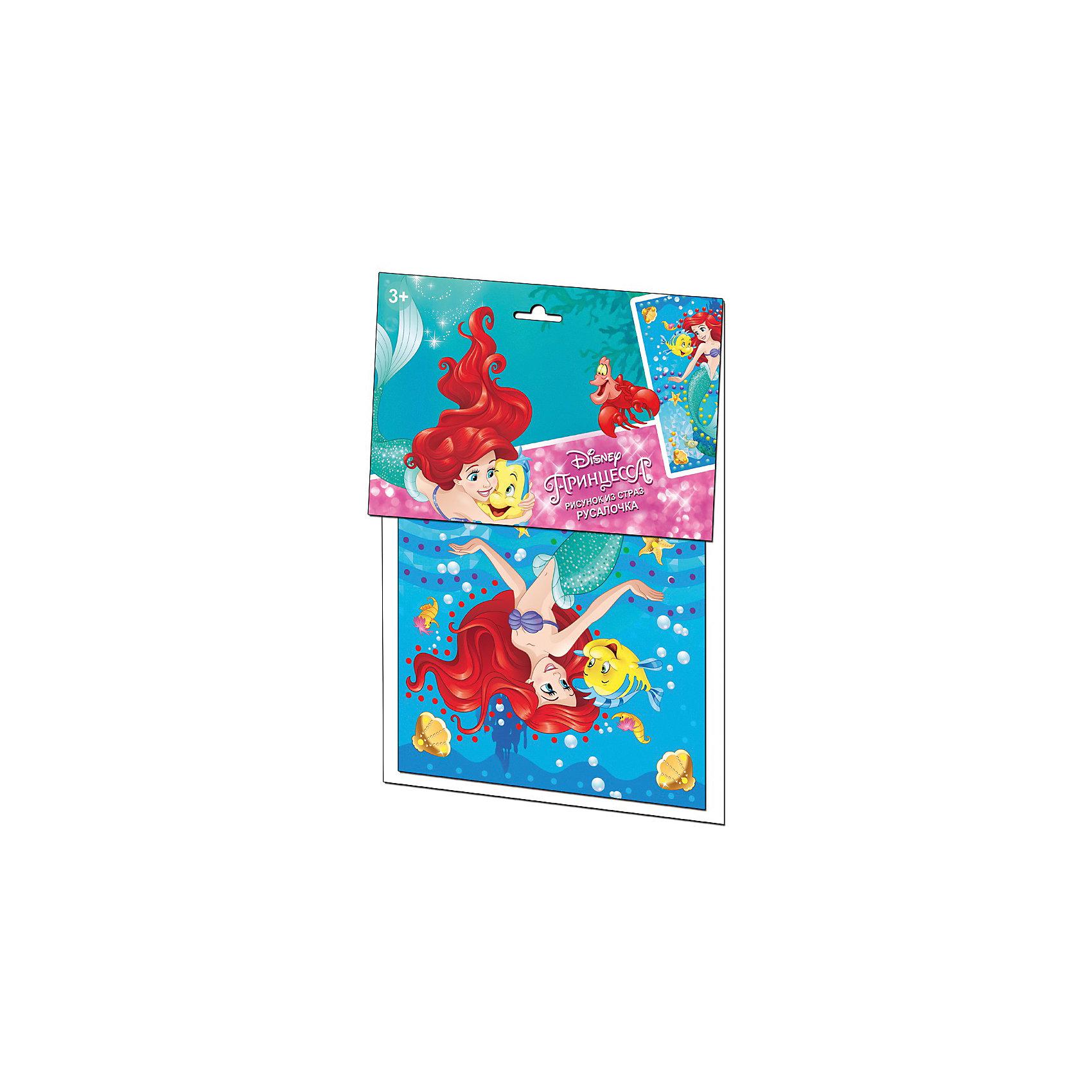 Набор для творчества Русалочка, Десятое королевствоЗадача - украсить рисунок стразами, обязательно под присмотром взрослых (из-за наличия мелких деталей), постепенно у ребенка будет появляться сверкающий рисунок, а готовое произведение не оставит равнодушным даже взрослых. В состав набора входят:<br>- блок самоклеющихся страз – 182 шт. пяти цветов;<br>- картонная основа с рисунком, размером 250х180 мм – 1 шт.<br><br>Ширина мм: 210<br>Глубина мм: 300<br>Высота мм: 2<br>Вес г: 53<br>Возраст от месяцев: 36<br>Возраст до месяцев: 60<br>Пол: Унисекс<br>Возраст: Детский<br>SKU: 5471628