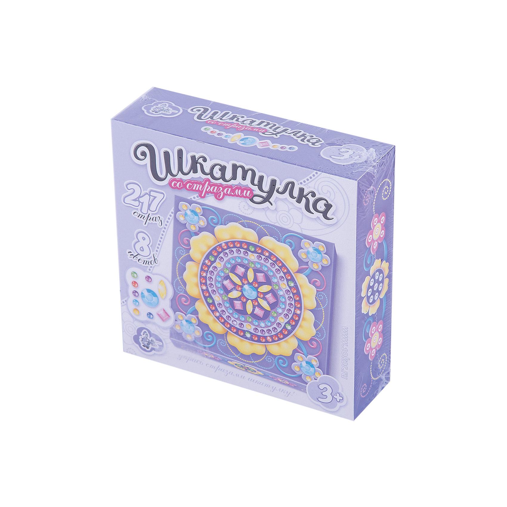 Шкатулка Цветок, Десятое королевствоРукоделие<br>Шкатулка Цветок, Десятое королевство<br><br>Характеристики:<br><br>• Возраст: от 5 лет<br>• Размер готовой игрушки: 15х15см<br>• Материал: картон, акрил, метал<br>• В комплекте: заготовка шкатулки, 217 страз 8 цветов<br><br>Этот замечательный набор позволяет ребенку самостоятельно собрать для себя яркую и красивую шкатулку с очаровательным рисунком. Благодаря устройству набора, форму для шкатулку довольно просто сложить, а для украшения удобно использовать идущие в наборе стразы, которые можно приклеивать прямо по номерам. Итоговый размер шкатулки - 10,5 х 10,5 х 4,5 см. Работа с набором развивает усидчивость и мелкую моторику.<br><br>Шкатулка Цветок, Десятое королевство можно купить в нашем интернет-магазине.<br><br>Ширина мм: 153<br>Глубина мм: 153<br>Высота мм: 47<br>Вес г: 140<br>Возраст от месяцев: 60<br>Возраст до месяцев: 84<br>Пол: Женский<br>Возраст: Детский<br>SKU: 5471656