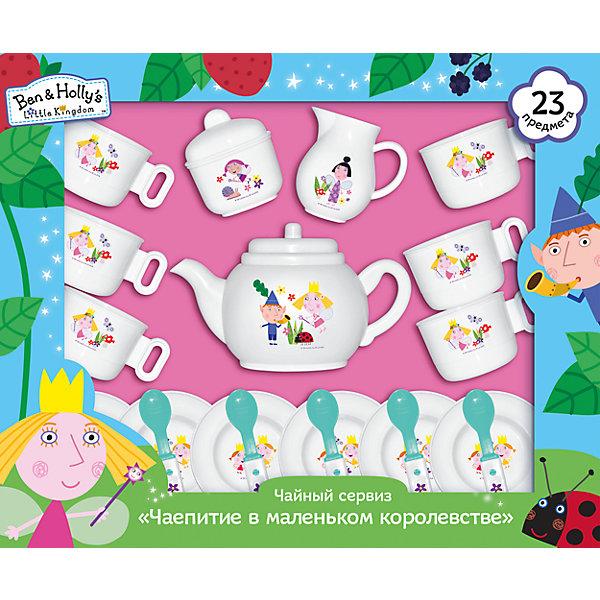 Набор Чаепитие в маленьком королевстве, Бен и Холли, 23 предметаДетские кухни<br>Характеристики товара:<br><br>• материал: пластик<br>• комплектация: 23 предмета - 6 чашек, 6 тарелок, 6 чайных ложек, чайник с крышкой, молочник, сахарница с крышкой<br>• вес: 500 г<br>• размер упаковки: 40х33х9 см<br>• хорошая детализация<br>• предметы декорированы изображениями героев мультфильма<br>• упаковка: подарочная коробка<br>• возраст: от 3 лет<br>• страна производства: Китай<br><br>Такой набор станет отличным подарком для маленького любителя мультфильма «Маленькое королевство Бена и Холли». Он отлично проработан, в наборе есть все необходимые предметы для полноценного чаепития: чашки, ложки и т.д.<br><br>Игры с такими наборами - это не только весело, они помогают развить у ребенка воображение, творческое мышление и мелкую моторику. Игрушки выполнены из высококачественного пластика белого цвета с перламутром и декорированы изображениями героев мультфильма. <br><br>Набор Чаепитие в маленьком королевстве, Бен и Холли, 23 предмета, от бренда Росмэн можно купить в нашем интернет-магазине.<br>Ширина мм: 400; Глубина мм: 330; Высота мм: 85; Вес г: 500; Возраст от месяцев: 36; Возраст до месяцев: 60; Пол: Унисекс; Возраст: Детский; SKU: 5471896;