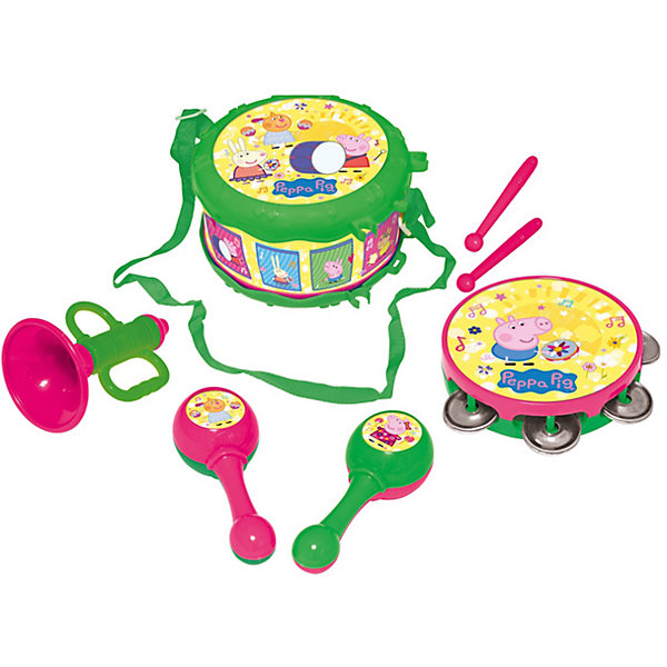 Набор музыкальных инструментов, «Свинка Пеппа»Детские музыкальные инструменты<br>Характеристики товара:<br><br>• материал: пластик<br>• комплектация: 7 предметов - барабан с ремнем (10,5х17,5х17,5 см), бубен (2,6х10,7х10,7 см), труба (11х7х7 см), 2 маракаса (14x5x4 см), 2 барабанные палочки длиной 12,5 см<br>• вес: 670 г<br>• размер упаковки: 34 х 20 х 11 см<br>• все предметы можно уложить в барабан<br>• хорошая детализация<br>• предметы декорированы изображениями героев мультфильма<br>• упаковка: подарочная коробка<br>• возраст: от 3 лет<br>• страна производства: Китай<br><br>Такой набор станет отличным подарком для маленького любителя мультфильма «Свинка Пеппа». Он отлично проработан, в наборе есть все необходимые предметы для полноценного концерта с друзьями: барабан, бубен, труба, маракасы. Игрушка станет желанным подарком для детей!<br>Игры с такими наборами - это не только весело, они помогают развить у ребенка музыкальный слух, воображение, творческие способности и мелкую моторику. Игрушки выполнены из высококачественного пластика и декорированы изображениями героев мультфильма. <br><br>Набор музыкальных инструментов, «Свинка Пеппа» от бренда Росмэн можно купить в нашем интернет-магазине.<br>Ширина мм: 340; Глубина мм: 200; Высота мм: 115; Вес г: 670; Возраст от месяцев: 36; Возраст до месяцев: 60; Пол: Унисекс; Возраст: Детский; SKU: 5471903;