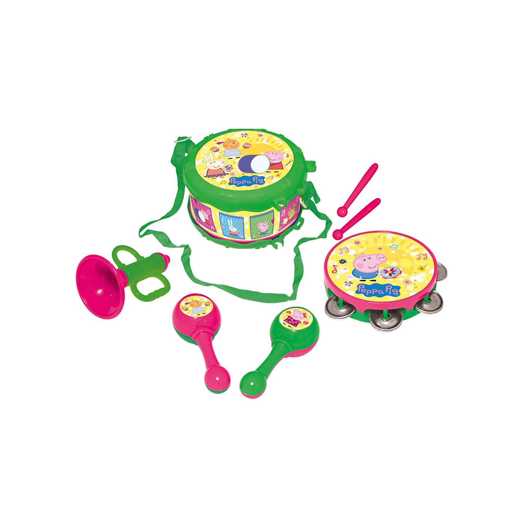Набор музыкальных инструментов, «Свинка Пеппа»Свинка Пеппа<br>Характеристики товара:<br><br>• материал: пластик<br>• комплектация: 7 предметов - барабан с ремнем (10,5х17,5х17,5 см), бубен (2,6х10,7х10,7 см), труба (11х7х7 см), 2 маракаса (14x5x4 см), 2 барабанные палочки длиной 12,5 см<br>• вес: 670 г<br>• размер упаковки: 34 х 20 х 11 см<br>• все предметы можно уложить в барабан<br>• хорошая детализация<br>• предметы декорированы изображениями героев мультфильма<br>• упаковка: подарочная коробка<br>• возраст: от 3 лет<br>• страна производства: Китай<br><br>Такой набор станет отличным подарком для маленького любителя мультфильма «Свинка Пеппа». Он отлично проработан, в наборе есть все необходимые предметы для полноценного концерта с друзьями: барабан, бубен, труба, маракасы. Игрушка станет желанным подарком для детей!<br>Игры с такими наборами - это не только весело, они помогают развить у ребенка музыкальный слух, воображение, творческие способности и мелкую моторику. Игрушки выполнены из высококачественного пластика и декорированы изображениями героев мультфильма. <br><br>Набор музыкальных инструментов, «Свинка Пеппа» от бренда Росмэн можно купить в нашем интернет-магазине.<br><br>Ширина мм: 340<br>Глубина мм: 200<br>Высота мм: 115<br>Вес г: 670<br>Возраст от месяцев: 36<br>Возраст до месяцев: 60<br>Пол: Унисекс<br>Возраст: Детский<br>SKU: 5471903