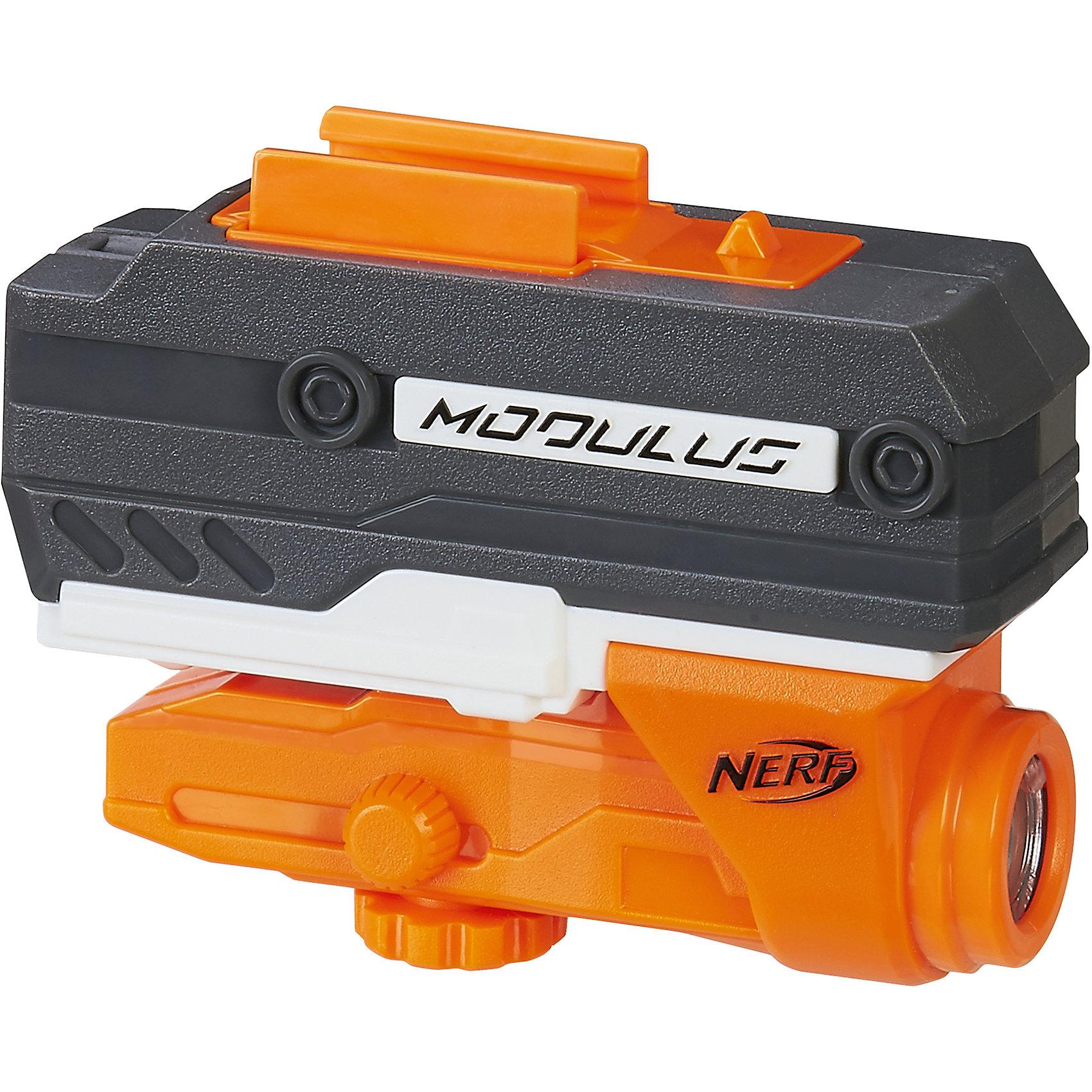 Игрушка Nerf Нёрф Модулус - Лазерный прицелИгрушечное оружие<br>Характеристики товара:<br><br>• материал: пластик, металл<br>• возраст: от 8 лет<br>• тип батареек: 3 x AAA / LR0.3 1.5 (мизинчиковые)<br>• наличие батареек: не входят в комплект<br>• вес: 160 г<br>• размер упаковки: 18x5x23 см<br>• страна бренда: США<br>• страна производства: Китай<br><br>Игрушка Нёрф Модулус - это лазерный прицел, предназначенный для модификации бластеров. С помощью Nerf Modulus N-Strike ребенок будет лучше целиться как в неподвижные мишени, так и в движущихся участников боя даже на довольно дальних расстояниях, ни на секунду не упуская их из виду.<br><br>Аксессуары, NERF Modulus, от известного бренда Hasbro можно купить в нашем интернет-магазине.<br><br>Ширина мм: 236<br>Глубина мм: 182<br>Высота мм: 48<br>Вес г: 165<br>Возраст от месяцев: 96<br>Возраст до месяцев: 156<br>Пол: Унисекс<br>Возраст: Детский<br>SKU: 5473698