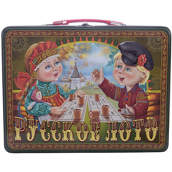Русское лото в чемоданчике Посиделки, Десятое королевствоЛото<br>Русское лото в чемоданчике Посиделки, Десятое королевство<br><br>Характеристики: <br><br>• Возраст: от 7 лет<br>• Материал: картон, пластик, дерево, текстиль<br>• В комплекте: 24 карточки, 90 бочонков, 150 жетонов, 2 мешочка, жестяной чемоданчик<br><br>Эта увлекательная старинная русская игра будет интересна детям от 7 лет. В комплекте идут 90 бочонков, 24 карточки, 150 жетонов, 2 мешочка и один маленький чемоданчик, который будет отлично смотреться в шкафу. Благодаря простоте ее правил и возможности играть в компании, лото снискало себе популярность у людей всех возрастов. <br><br>Русское лото в чемоданчике Посиделки, Десятое королевство можно купить в нашем интернет-магазине.<br>Ширина мм: 295; Глубина мм: 225; Высота мм: 60; Вес г: 1189; Возраст от месяцев: 84; Возраст до месяцев: 2147483647; Пол: Унисекс; Возраст: Детский; SKU: 5473718;