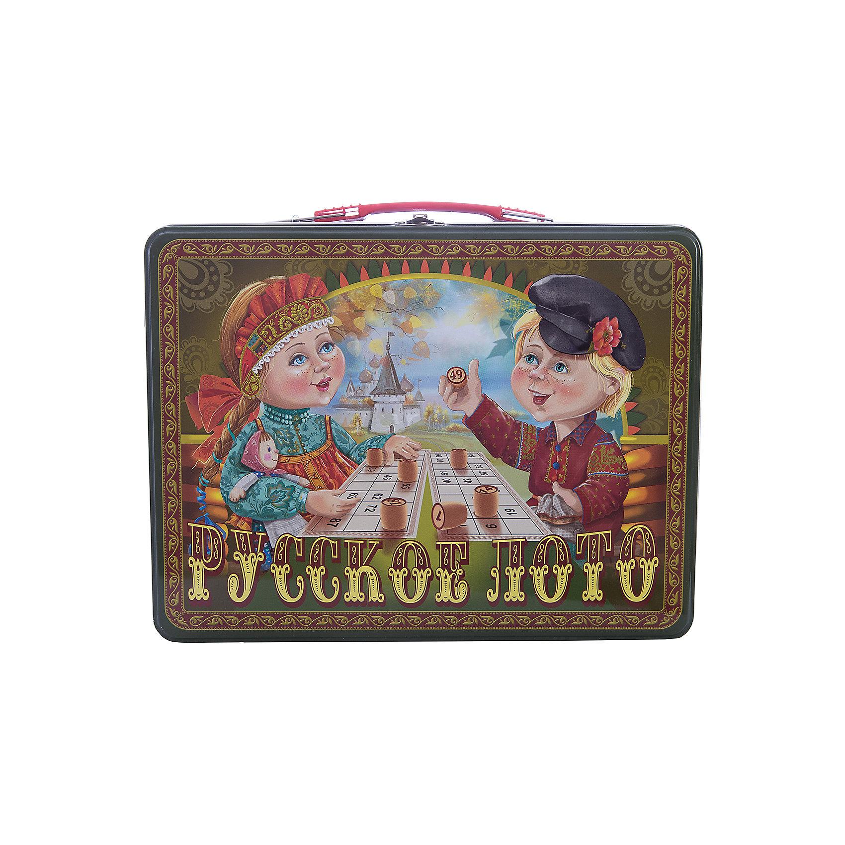 Русское лото в чемоданчике Посиделки, Десятое королевствоЛото<br>Русское лото в чемоданчике Посиделки, Десятое королевство<br><br>Характеристики: <br><br>• Возраст: от 7 лет<br>• Материал: картон, пластик, дерево, текстиль<br>• В комплекте: 24 карточки, 90 бочонков, 150 жетонов, 2 мешочка, жестяной чемоданчик<br><br>Эта увлекательная старинная русская игра будет интересна детям от 7 лет. В комплекте идут 90 бочонков, 24 карточки, 150 жетонов, 2 мешочка и один маленький чемоданчик, который будет отлично смотреться в шкафу. Благодаря простоте ее правил и возможности играть в компании, лото снискало себе популярность у людей всех возрастов. <br><br>Русское лото в чемоданчике Посиделки, Десятое королевство можно купить в нашем интернет-магазине.<br><br>Ширина мм: 295<br>Глубина мм: 225<br>Высота мм: 60<br>Вес г: 1189<br>Возраст от месяцев: 84<br>Возраст до месяцев: 2147483647<br>Пол: Унисекс<br>Возраст: Детский<br>SKU: 5473718