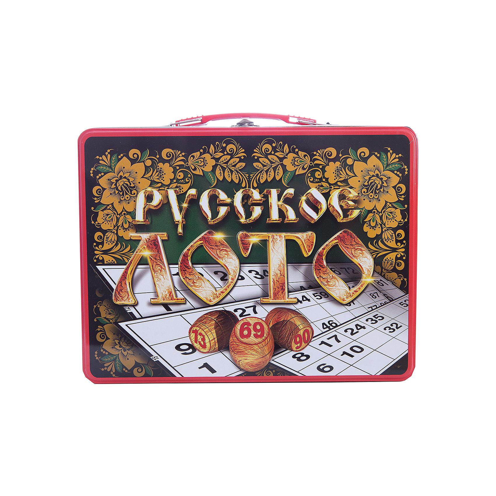 Русское лото в чемоданчике Русские узоры, Десятое королевствоНастольные игры<br>Русское лото в чемоданчике Русские узоры, Десятое королевство<br><br>Характеристики: <br><br>• Возраст: от 7 лет<br>• Материал: картон, пластик, дерево, текстиль<br>• В комплекте: 24 карточки, 90 бочонков, 150 жетонов, 2 мешочка, жестяной чемоданчик<br><br>Эта увлекательная старинная русская игра будет интересна детям от 7 лет. В комплекте идут 90 бочонков, 24 карточки, 150 жетонов, 2 мешочка и один маленький чемоданчик, который будет отлично смотреться в шкафу. Благодаря простоте ее правил и возможности играть в компании, лото снискало себе популярность у людей всех возрастов. <br><br>Русское лото в чемоданчике Русские узоры, Десятое королевство можно купить в нашем интернет-магазине.<br><br>Ширина мм: 295<br>Глубина мм: 225<br>Высота мм: 60<br>Вес г: 1189<br>Возраст от месяцев: 84<br>Возраст до месяцев: 2147483647<br>Пол: Унисекс<br>Возраст: Детский<br>SKU: 5473719