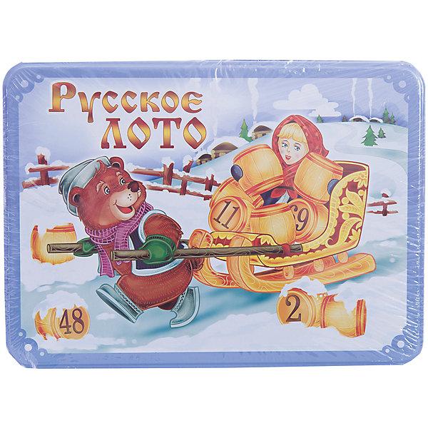 Русское лото в коробке Масленица, Десятое королевствоЛото<br>Русское лото в коробке Масленица, Десятое королевство<br><br>Характеристики: <br><br>• Возраст: от 7 лет<br>• Материал: картон, пластик, дерево, текстиль<br>• В комплекте: 24 карточки, 90 бочонков, 150 жетонов, 2 мешочка, жестяная коробка<br><br>Эта увлекательная старинная русская игра будет интересна детям от 7 лет. В комплекте идут 90 бочонков, 24 карточки, 150 жетонов, 2 мешочка и жестяная коробка, которая будет отлично смотреться в шкафу. Благодаря простоте ее правил и возможности играть в компании, лото снискало себе популярность у людей всех возрастов. <br><br>Русское лото в коробке Масленица, Десятое королевство можно купить в нашем интернет-магазине.<br><br>Ширина мм: 225<br>Глубина мм: 165<br>Высота мм: 65<br>Вес г: 1037<br>Возраст от месяцев: 84<br>Возраст до месяцев: 2147483647<br>Пол: Унисекс<br>Возраст: Детский<br>SKU: 5473721