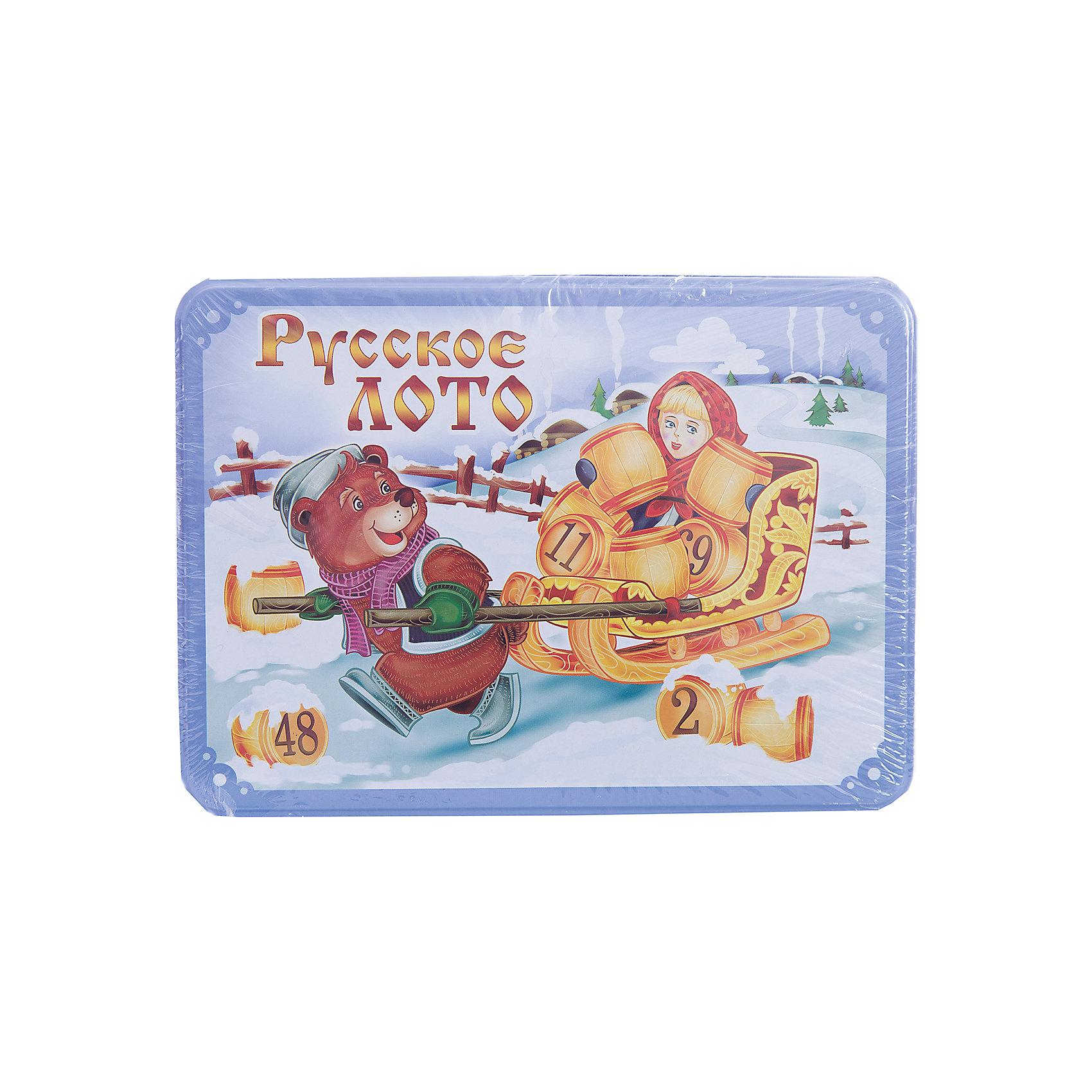 Русское лото в коробке Масленица, Десятое королевствоРусское лото в коробке Масленица, Десятое королевство<br><br>Характеристики: <br><br>• Возраст: от 7 лет<br>• Материал: картон, пластик, дерево, текстиль<br>• В комплекте: 24 карточки, 90 бочонков, 150 жетонов, 2 мешочка, жестяная коробка<br><br>Эта увлекательная старинная русская игра будет интересна детям от 7 лет. В комплекте идут 90 бочонков, 24 карточки, 150 жетонов, 2 мешочка и жестяная коробка, которая будет отлично смотреться в шкафу. Благодаря простоте ее правил и возможности играть в компании, лото снискало себе популярность у людей всех возрастов. <br><br>Русское лото в коробке Масленица, Десятое королевство можно купить в нашем интернет-магазине.<br><br>Ширина мм: 225<br>Глубина мм: 165<br>Высота мм: 65<br>Вес г: 1037<br>Возраст от месяцев: 84<br>Возраст до месяцев: 2147483647<br>Пол: Унисекс<br>Возраст: Детский<br>SKU: 5473721