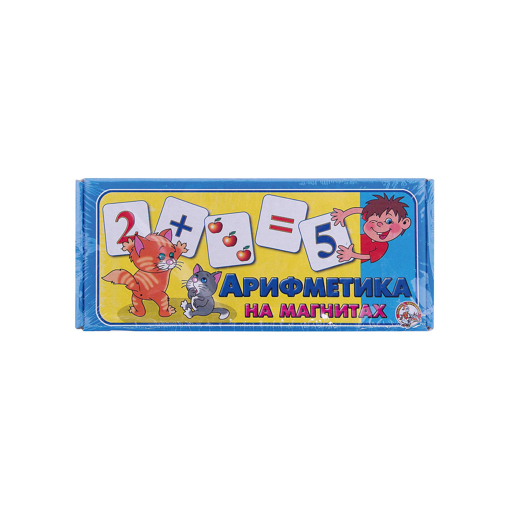 Магнитные карточки Арифметика  на магнитах, Десятое королевствоРазвивающие игры<br>Магнитные карточки Арифметика на магнитах, Десятое королевство<br><br>Характеристики: <br><br>• Возраст: от 3 лет<br>• Материал: картон, полимер<br>• В комплекте: 72 карточки, гибкая полимерная магнитная лента<br><br>Эта игра будет особенно полезна для детей от трех лет. С ее помощью ребенок будет учиться узнавать очертания букв и начнет складывать и вычитать цифры. Перед началом игры нужно разрезать и наклеить на карточки полимерную магнитную ленту. Этот набор полностью безопасен для детей и подходит для обучения деток азам арифметики.<br><br>Магнитные карточки Арифметика на магнитах, Десятое королевство можно купить в нашем интернет-магазине.<br><br>Ширина мм: 230<br>Глубина мм: 100<br>Высота мм: 35<br>Вес г: 144<br>Возраст от месяцев: 60<br>Возраст до месяцев: 2147483647<br>Пол: Унисекс<br>Возраст: Детский<br>SKU: 5473731