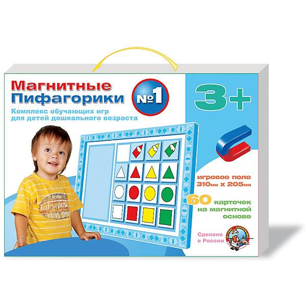 Набор Магнитные Пифагорики 3+, Десятое королевствоОбучающие игры для дошкольников<br>Набор Магнитные Пифагорики 3+, Десятое королевство<br><br>Характеристики: <br><br>• Возраст: от 3 лет<br>• Материал: вспененный полимер, магнит, картон<br>• В комплекте: Игровое поле, 60 карточек на магнитной основе, инструкция на русском языке<br><br>Этот набор позволяет в удобной игровой форме обучить ребенка основным цветам, пониманию формы предметов и их размеров. В наборе содержится магнитное игровое поле, 60 карточек, а так же буклет с 5 вариантами игр. Наиболее эффективным набор будет, если использовать его для работы с ребенком от 3 лет. В процессе игры с приятными на ощупь карточками, малыши быстрее обучаются и схватывают материал.<br><br>Набор Магнитные Пифагорики 3+, Десятое королевство можно купить в нашем интернет-магазине.<br>Ширина мм: 364; Глубина мм: 263; Высота мм: 34; Вес г: 612; Возраст от месяцев: 60; Возраст до месяцев: 84; Пол: Унисекс; Возраст: Детский; SKU: 5473733;