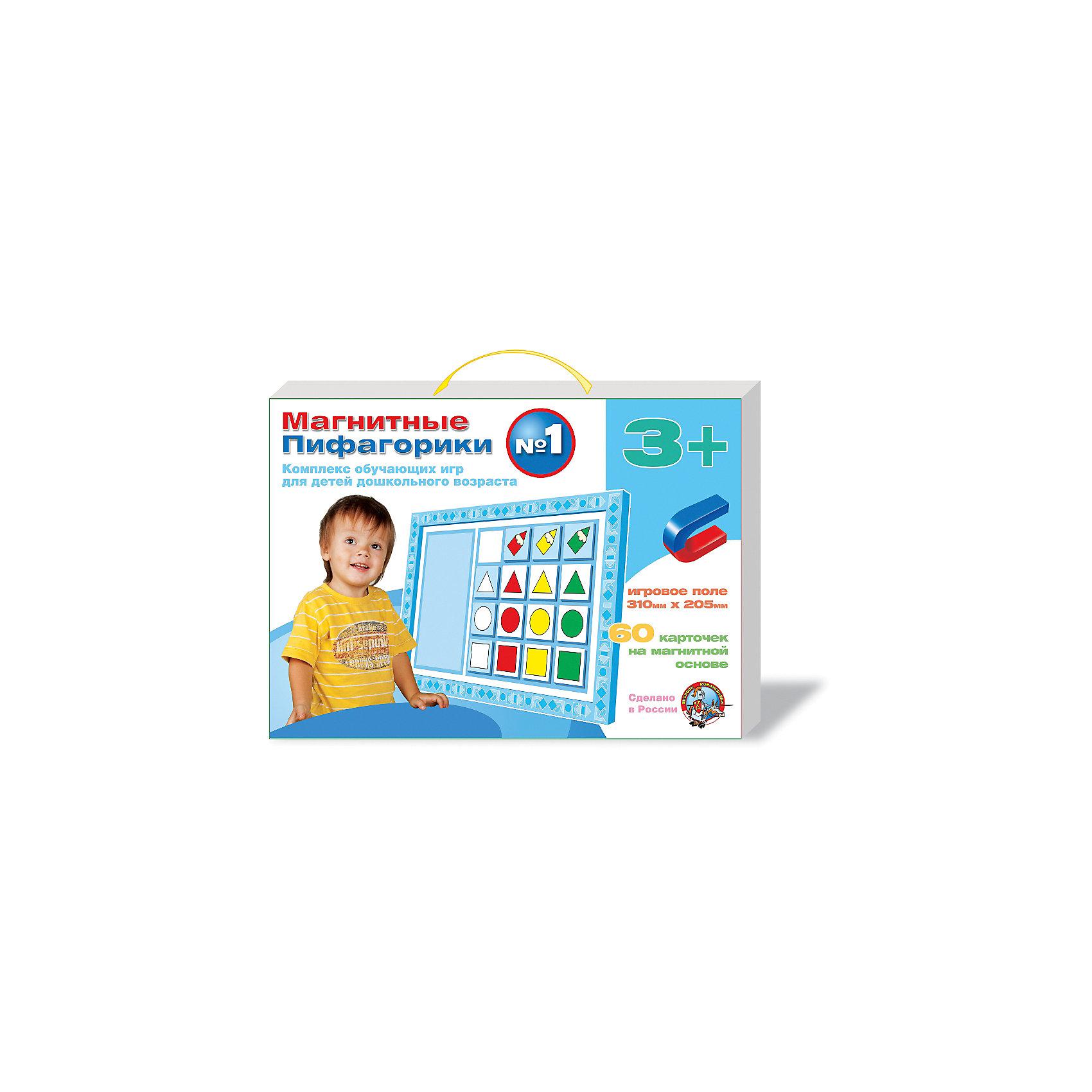 Набор Магнитные Пифагорики 3+, Десятое королевствоОбучающие игры для дошкольников<br>Набор Магнитные Пифагорики 3+, Десятое королевство<br><br>Характеристики: <br><br>• Возраст: от 3 лет<br>• Материал: вспененный полимер, магнит, картон<br>• В комплекте: Игровое поле, 60 карточек на магнитной основе, инструкция на русском языке<br><br>Этот набор позволяет в удобной игровой форме обучить ребенка основным цветам, пониманию формы предметов и их размеров. В наборе содержится магнитное игровое поле, 60 карточек, а так же буклет с 5 вариантами игр. Наиболее эффективным набор будет, если использовать его для работы с ребенком от 3 лет. В процессе игры с приятными на ощупь карточками, малыши быстрее обучаются и схватывают материал.<br><br>Набор Магнитные Пифагорики 3+, Десятое королевство можно купить в нашем интернет-магазине.<br><br>Ширина мм: 364<br>Глубина мм: 263<br>Высота мм: 34<br>Вес г: 612<br>Возраст от месяцев: 60<br>Возраст до месяцев: 84<br>Пол: Унисекс<br>Возраст: Детский<br>SKU: 5473733