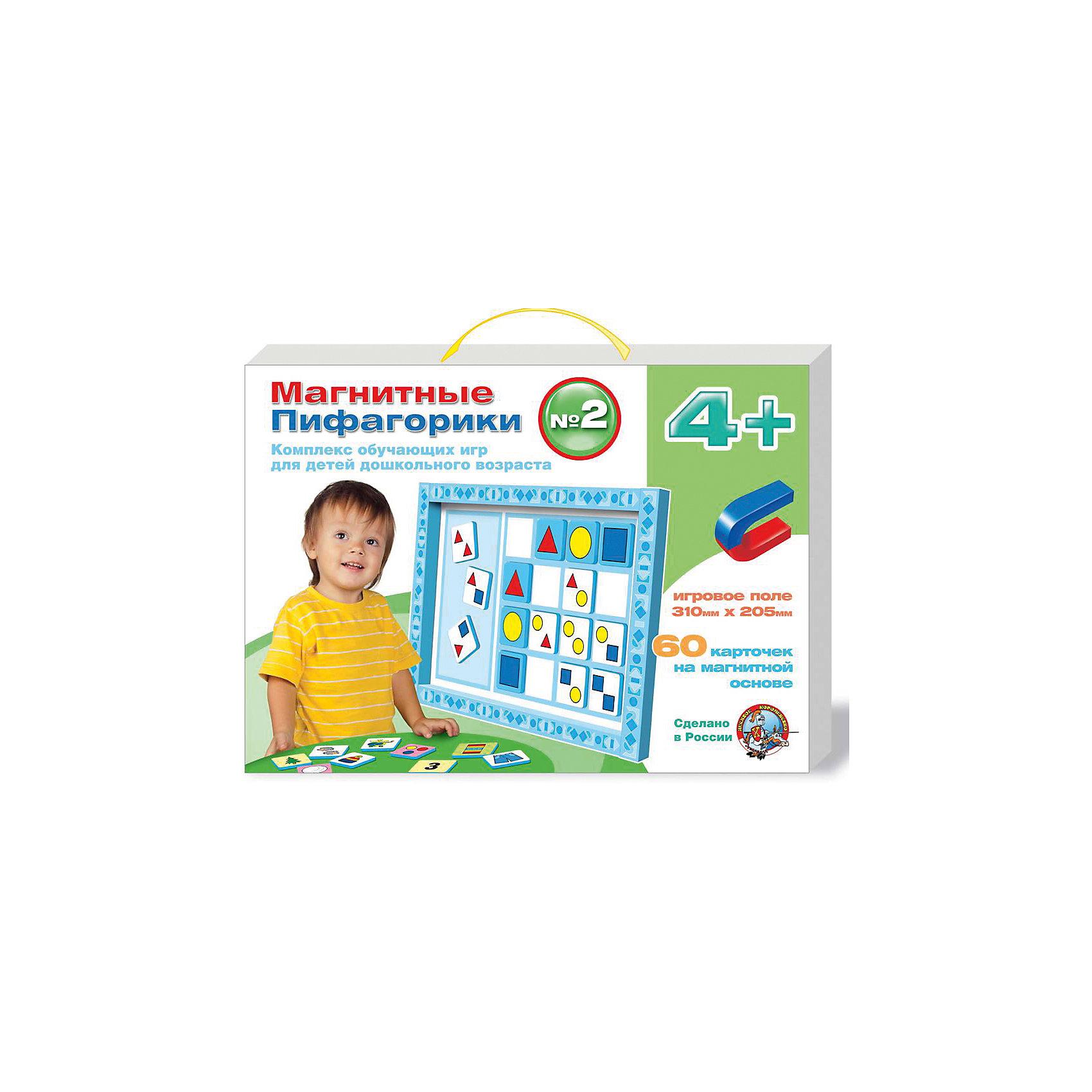 Набор Магнитные Пифагорики 4+, Десятое королевствоОбучающие игры для дошкольников<br>Набор Магнитные Пифагорики 4+, Десятое королевство<br><br>Характеристики: <br><br>• Возраст: от 4 лет<br>• Материал: вспененный полимер, магнит, картон<br>• В комплекте: Игровое поле, 60 карточек на магнитной основе, инструкция на русском языке<br><br>Этот набор позволяет в удобной игровой форме обучить ребенка основным цветам, пониманию формы предметов и их размеров. В наборе содержится магнитное игровое поле, 60 карточек, а так же буклет с 5 вариантами игр. Наиболее эффективным набор будет, если использовать его для работы с ребенком от 4 лет. В процессе игры с приятными на ощупь карточками, малыши быстрее обучаются и схватывают материал.<br><br>Набор Магнитные Пифагорики 4+, Десятое королевство можно купить в нашем интернет-магазине.<br><br>Ширина мм: 364<br>Глубина мм: 263<br>Высота мм: 34<br>Вес г: 612<br>Возраст от месяцев: 60<br>Возраст до месяцев: 84<br>Пол: Унисекс<br>Возраст: Детский<br>SKU: 5473734