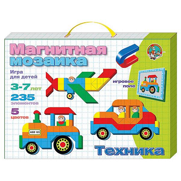 Магнитная мозаика Техника, 235 деталей, Десятое королевствоМозаика<br>Магнитная мозаика Техника, 235 деталей, Десятое королевство<br><br>Характеристики: <br><br>• Возраст: от 5 лет<br>• Цвет: красный, желтый, зеленый, синий<br>• Материал: пенополистирол<br>• В комплекте: магнитная доска, фишки-магниты (235 штук)<br><br>Эта игрушка подойдет для детей от 3 до 7 лет и позволит им развить конструкторские навыки, мелкую моторику и воображение. В наборе содержатся фишки разной геометрической формы, из которых можно создавать различные картинки. <br><br>Фишки выполнены на магнитной основе, для большего удобства вашего малыша. В комплекте содержится 235 фишек 5 цветов, выполненных из приятного на ощупь материала. <br><br>Магнитная мозаика Техника, 235 деталей, Десятое королевство можно купить в нашем интернет-магазине.<br><br>Ширина мм: 364<br>Глубина мм: 263<br>Высота мм: 34<br>Вес г: 566<br>Возраст от месяцев: 60<br>Возраст до месяцев: 84<br>Пол: Унисекс<br>Возраст: Детский<br>SKU: 5473737