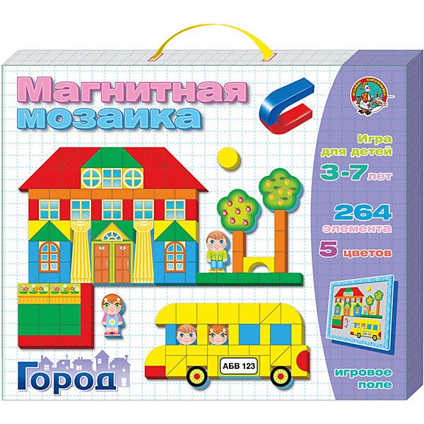 Магнитная мозаика Город, 264 деталей, Десятое королевствоМозаика<br>Магнитная мозаика Город, 264 деталей, Десятое королевство<br><br>Характеристики: <br><br>• Возраст: от 5 лет<br>• Цвет: красный, желтый, зеленый, синий<br>• Материал: пенополистирол<br>• В комплекте: магнитная доска, фишки-магниты (264 штук)<br><br>Эта игрушка подойдет для детей от 3 до 7 лет и позволит им развить конструкторские навыки, мелкую моторику и воображение. В наборе содержатся фишки разной геометрической формы, из которых можно создавать различные картинки. <br><br>Фишки выполнены на магнитной основе, для большего удобства вашего малыша. В комплекте содержится 264 фишек 5 цветов, выполненных из приятного на ощупь материала. <br><br>Магнитная мозаика Город, 264 деталей, Десятое королевство можно купить в нашем интернет-магазине.<br><br>Ширина мм: 425<br>Глубина мм: 575<br>Высота мм: 34<br>Вес г: 820<br>Возраст от месяцев: 60<br>Возраст до месяцев: 84<br>Пол: Унисекс<br>Возраст: Детский<br>SKU: 5473738