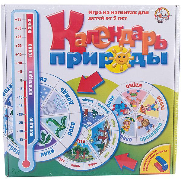 Календарь природы, Десятое королевствоОбучающие игры для дошкольников<br>Календарь природы, Десятое королевство<br><br>Характеристики: <br><br>• Возраст: от 4 лет<br>• Материал: картон, полимерный материал, магнитная лента<br>• Количество участников: от 2<br>• В комплекте: 6 больших и 2 малых игровых кругов, 6 карточек с годами, 16 стрелок, термометр, магнитная лента, карточка с праздниками, числовая шкала <br><br>Этот красочный календарь познакомит вашего ребенка со сменой времен года, названиями месяцев, их последовательностью, днями недели, погодными явлениями и многими другими вещами, полезными для развития малыша. Подходит для детей от 4 лет. Особенностью этого набора является то, что календарь можно сделать самому из материалов, поставляющихся в наборе.<br><br>Календарь природы, Десятое королевство можно купить в нашем интернет-магазине.<br><br>Ширина мм: 285<br>Глубина мм: 280<br>Высота мм: 40<br>Вес г: 309<br>Возраст от месяцев: 60<br>Возраст до месяцев: 84<br>Пол: Унисекс<br>Возраст: Детский<br>SKU: 5473753