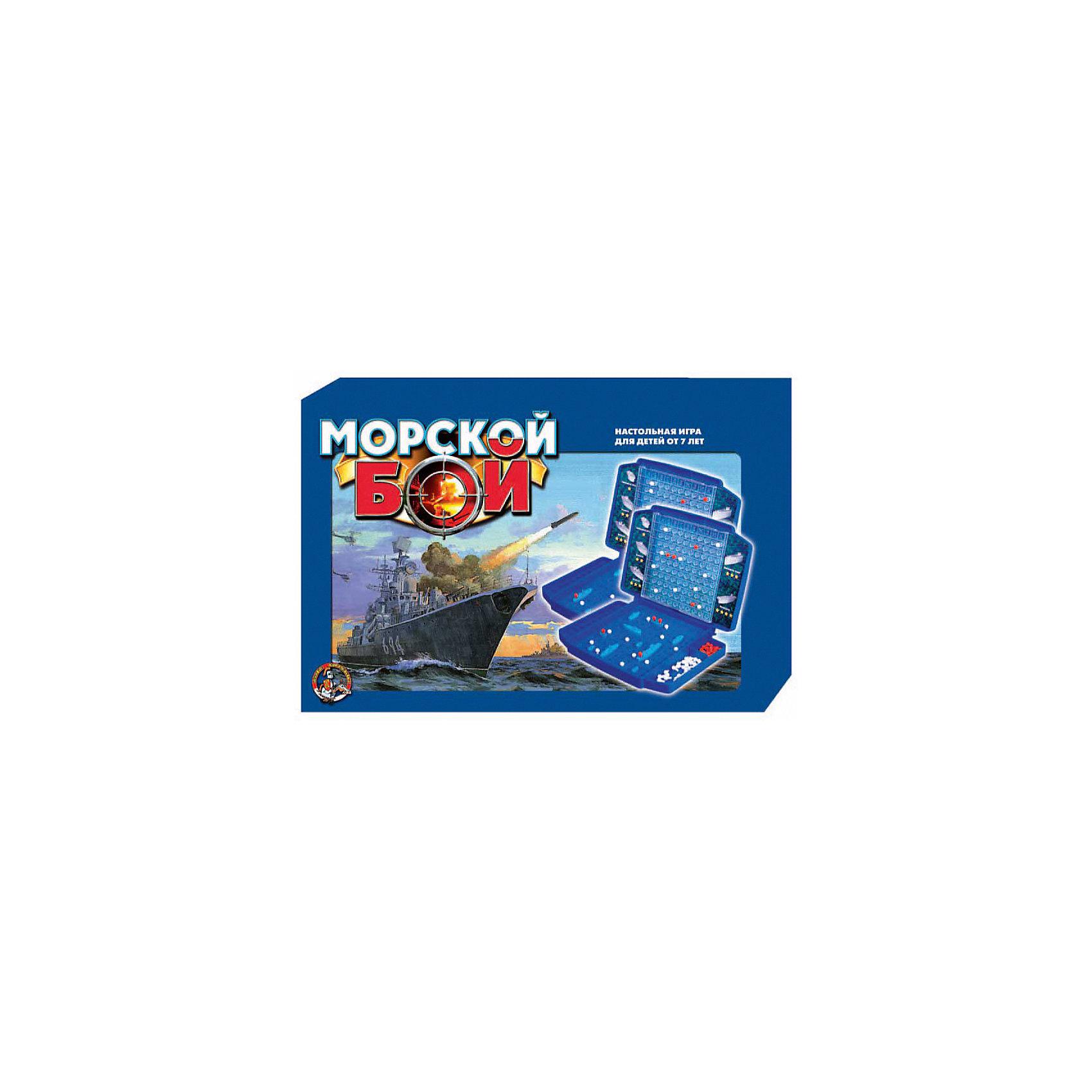 Игра настольная Морской бой 1, Десятое королевствоСтратегические настольные игры<br>Игра настольная Морской бой 1, Десятое королевство<br><br>Характеристики: <br><br>• Возраст: от 3 лет<br>• Материал: пластик<br>• В комплекте: корабли, чемоданчик, фишки<br><br>Этот набор создан на основе знаменитой игры Морской бой, только в данном наборе игровое поле и корабли выполнены в виде объемных фигурок. В комплекте идут 2 игровых поля, 2 крейсера, 6 эсминцев, 2 авианосца, 2 подлодки, 9 торпедных катеров, 320 белых и 80 красных фишек. Поставляется в удобном чемоданчике, благодаря которому фигурки не потеряются, а фишки не слетят с поля.<br><br>Игра настольная Морской бой 1, Десятое королевство можно купить в нашем интернет-магазине.<br><br>Ширина мм: 370<br>Глубина мм: 240<br>Высота мм: 40<br>Вес г: 912<br>Возраст от месяцев: 84<br>Возраст до месяцев: 2147483647<br>Пол: Унисекс<br>Возраст: Детский<br>SKU: 5473812