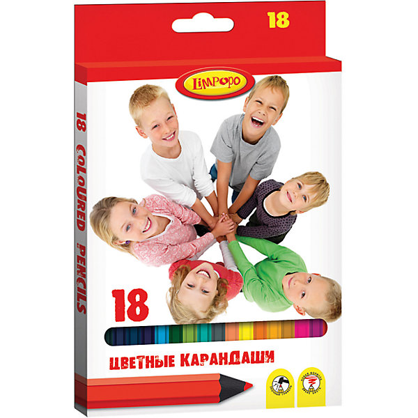 Карандаши цветные Дети,18 цветовКарандаши для творчества<br>Характеристики цветных карандашей Дети:<br><br>• тип карандашей: цветные<br>• возраст: от 3 лет<br>• ударопрочный грифель<br>• форма карандаша: шестигранная<br>• диаметр грифеля: 1 мм<br>• состав: пластик 95%,картон 5%<br>• вид упаковки: коробка<br><br>Набор цветных карандашей Limpopo Дети можно купить в нашем интернет-магазине<br>Ширина мм: 210; Глубина мм: 90; Высота мм: 13; Вес г: 145; Возраст от месяцев: 48; Возраст до месяцев: 96; Пол: Унисекс; Возраст: Детский; SKU: 5475456;