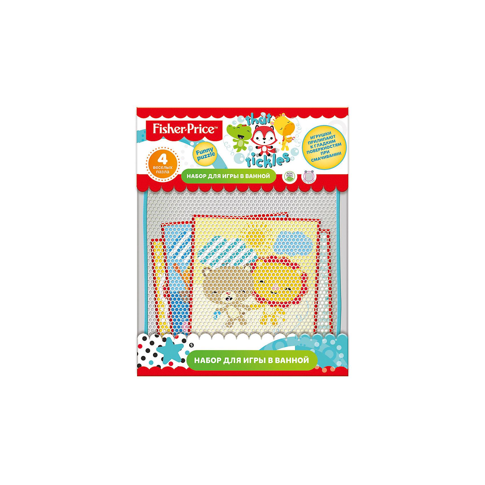 Набор для игры в ванне Funny puzzle, 4 пазла, Fisher PriceНабор для игры в ванной  Fisher Price Funny puzzle,изготовлен из эластичного, гипоаллергенного материала.  При намачивании фигурки легко приклеиваются и отклеиваются от кафеля. Форма игрушек идеальна для маленьких ручкек. Все упаковано в удобную сумку-сетку на присосках, которую тоже можно прикрепить к стенке.<br><br>Ширина мм: 300<br>Глубина мм: 430<br>Высота мм: 235<br>Вес г: 308<br>Возраст от месяцев: 0<br>Возраст до месяцев: 72<br>Пол: Унисекс<br>Возраст: Детский<br>SKU: 5475459