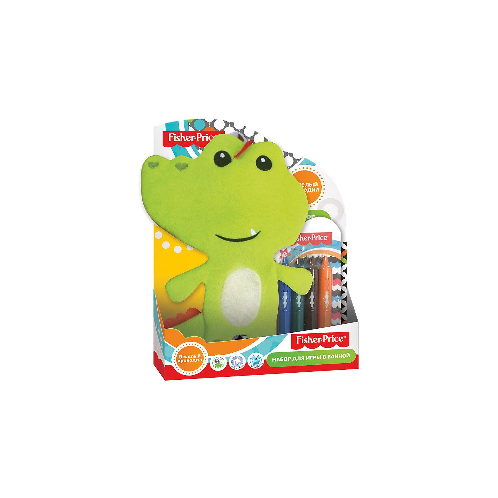 Набор для ванной Веселый крокодил, Fisher PriceИгровые наборы<br>Характеристики набор для ванной Веселый крокодил: <br><br>• возраст: от 3 лет<br>• состав: полимер 100%<br>• размеры: 25.3 х 2.8 х 20 см<br>• тип игрового набора: фигурки<br>• страна бренда: США<br>• страна производитель: Китай<br><br>Детская мочалка для ванной торговой марки Fisher Price Веселый крокодил изготовлена из натурального хлопка, имеет мягкую, ворсистую поверхность. В набор входят 6 мелков для рисования в пластиковой упаковке. Следы от мелков без труда смываются теплой водой.<br><br>Детскую мочалку торговой марки Fisher Price Веселый крокодил можно купить в нашем интернет-магазине.<br><br>Ширина мм: 253<br>Глубина мм: 280<br>Высота мм: 200<br>Вес г: 156<br>Возраст от месяцев: 0<br>Возраст до месяцев: 72<br>Пол: Унисекс<br>Возраст: Детский<br>SKU: 5475464