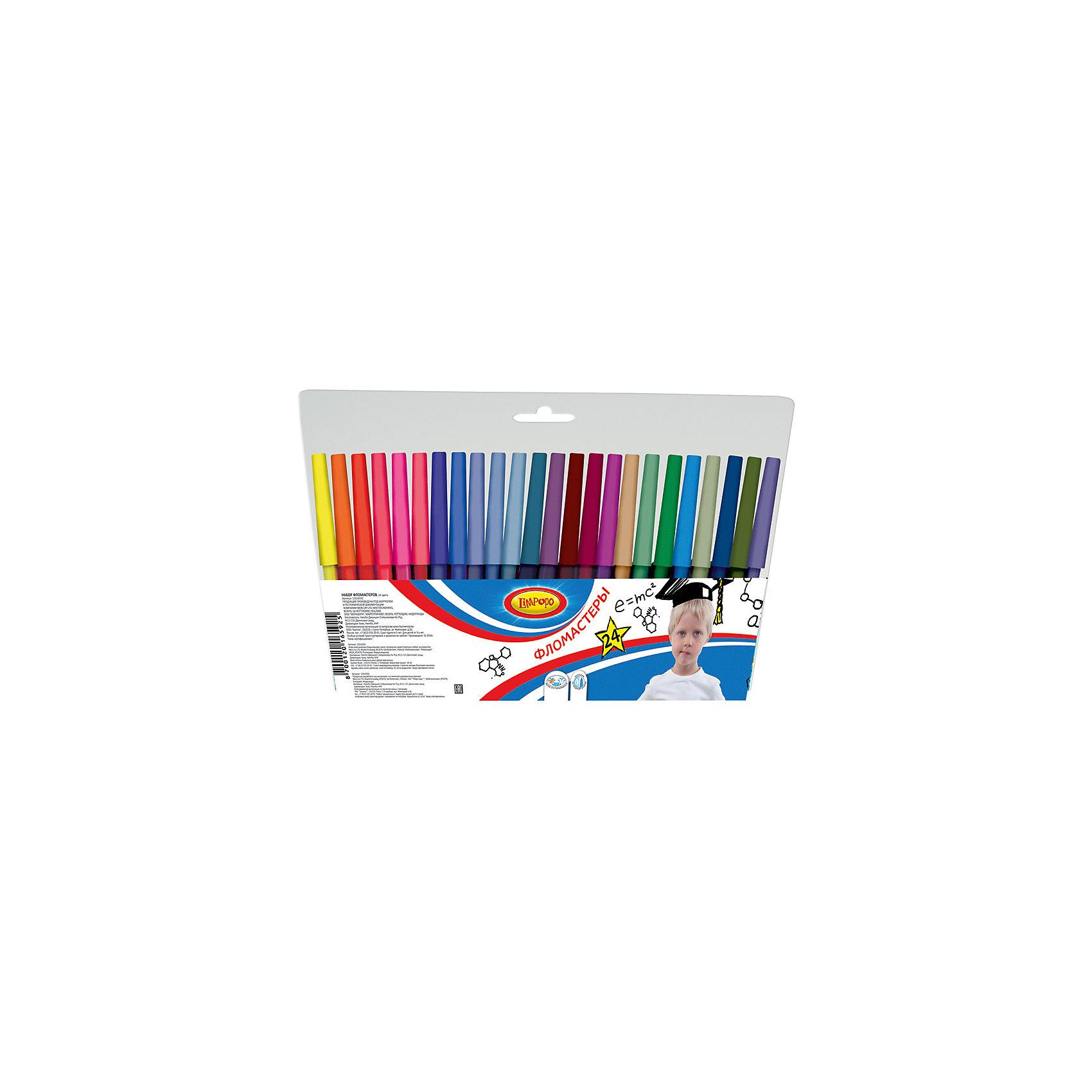 Фломастеры Супер-Дети, 24 цветаНабор цветных фломастеров Limpopo Супер-Дети - помогут развить юным художникам творческие способности, цветовое восприятие, фантазию и воображение.  Фломастеры  Limpopo обладают яркими цветами и удобным пластиковым корпусом, который  делает процесс рисования максимально комфортным. Чернила на водной основе не токсичны, не имеют запаха, легко смываются с рук и отстирываются с ткани.  Вентилируемый колпачок обеспечивает безопасность при использовании фломастеров ребенком (не перекрывает доступ кислорода в случае попадания колпачка в дыхательные пути). Фиксированный пишущий узел не даст стержню провалиться даже при сильном нажатии.<br><br>Ширина мм: 9<br>Глубина мм: 1660<br>Высота мм: 230<br>Вес г: 125<br>Возраст от месяцев: 48<br>Возраст до месяцев: 96<br>Пол: Унисекс<br>Возраст: Детский<br>SKU: 5475465