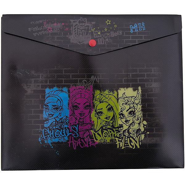 Конверт на кнопке, Monster HighПапки для тетрадей<br>Характеристики товара:<br><br>• тип: папка<br>• вид папки: папка-конверт<br>• формат: А4 (210 x 297 мм)<br>• материал: пластик<br>• размеры: 33 х 23,5 см.<br>• вес в упаковке: 31 г<br>• страна: Россия<br><br>Пластиковая папка-конверт на кнопке для тетрадей с полноцветным лицензионным дизайном Monster High от Mattel. <br><br>Формат - горизонтальный. <br><br>Конверт на кнопке, Monster High можно купить в нашем интернет-магазине.<br><br>Ширина мм: 245<br>Глубина мм: 30<br>Высота мм: 210<br>Вес г: 21<br>Возраст от месяцев: 36<br>Возраст до месяцев: 120<br>Пол: Женский<br>Возраст: Детский<br>SKU: 5475479