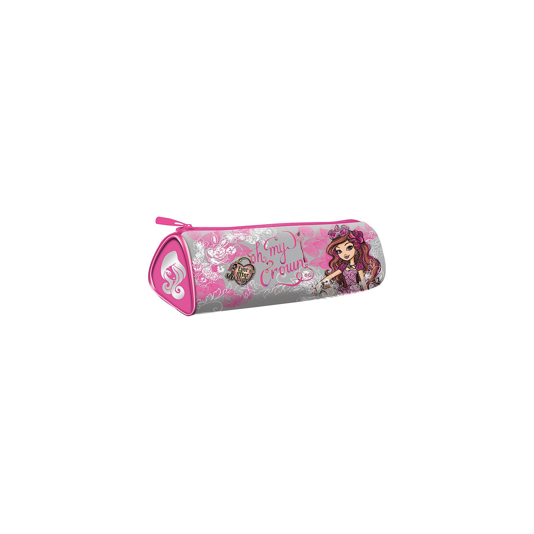 Пенал-тубус треугольный, Ever After High, Mattel , серебро-розовыйЯркий пенал-тубус Ever After High торговой марки Mattel с одним отделением поможет собрать школьные письменные принадлежности. Вместительный корпус выполнен из износостойкого материала, оснащен прочной молнией.<br><br>Ширина мм: 210<br>Глубина мм: 150<br>Высота мм: 110<br>Вес г: 45<br>Возраст от месяцев: 48<br>Возраст до месяцев: 120<br>Пол: Женский<br>Возраст: Детский<br>SKU: 5475502