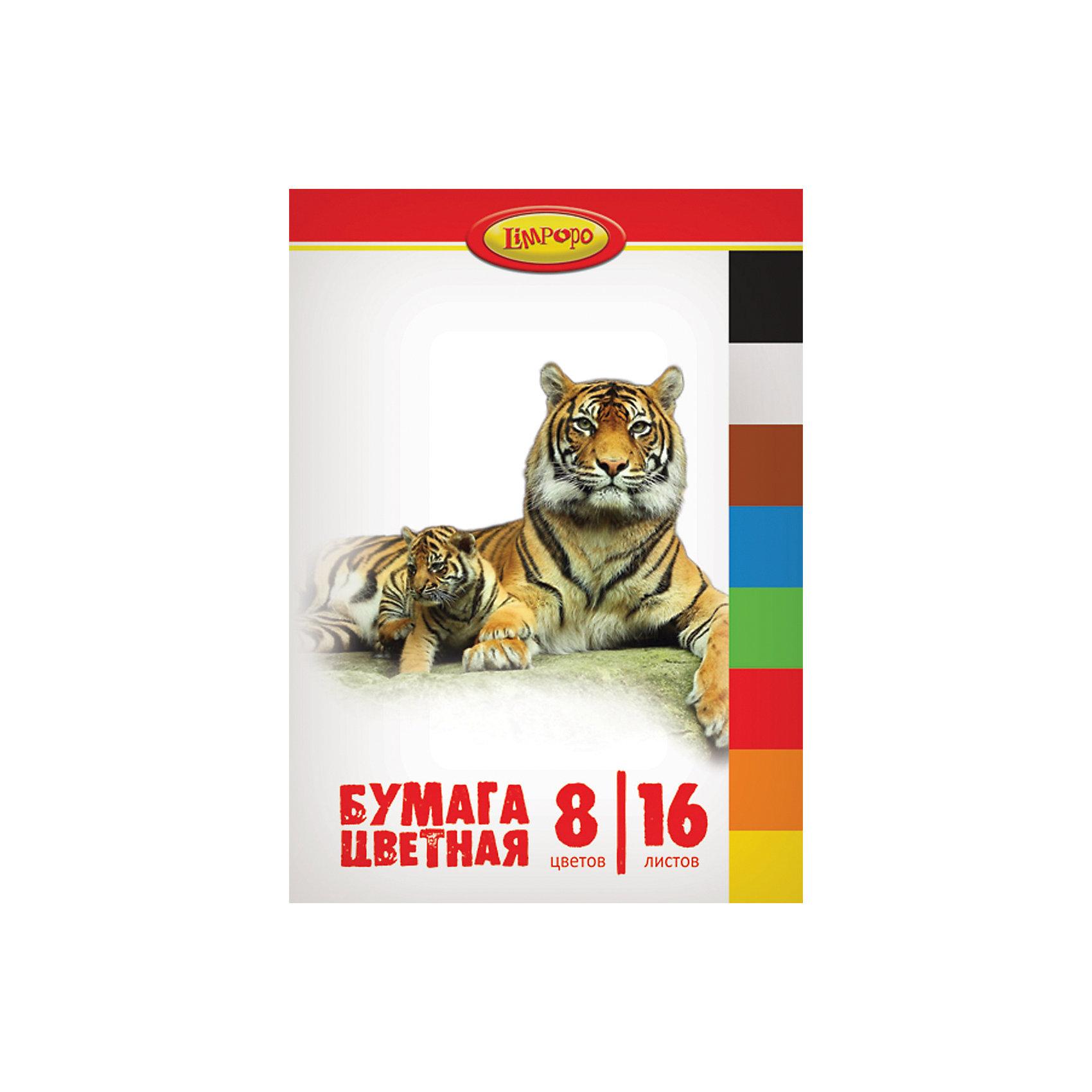 Набор цветной бумаги немелованной Хищники, 8 цветовБумажная продукция<br>Характеристики цветной немелованной бумаги, 16 листов, 8 цветов, Хищники:<br><br>• комплект: 16 листов немелованной бумаги с односторонней печатью<br>• количесвто цветов: 8<br>• формат: А4<br>• состав: бумага, картон.<br>• упаковка: папка с двумя клапанами<br>• размеры: 29,4х20,5х0,4 см<br>• бренд: Limpopo<br>• страна производитель: Россия.<br><br>Набор цветной бумаги немелованной Хищники, 8 цветов торговой марки можно купить в нашем интернет-магазине.<br><br>Ширина мм: 285<br>Глубина мм: 2050<br>Высота мм: 3<br>Вес г: 56<br>Возраст от месяцев: 48<br>Возраст до месяцев: 120<br>Пол: Унисекс<br>Возраст: Детский<br>SKU: 5475513
