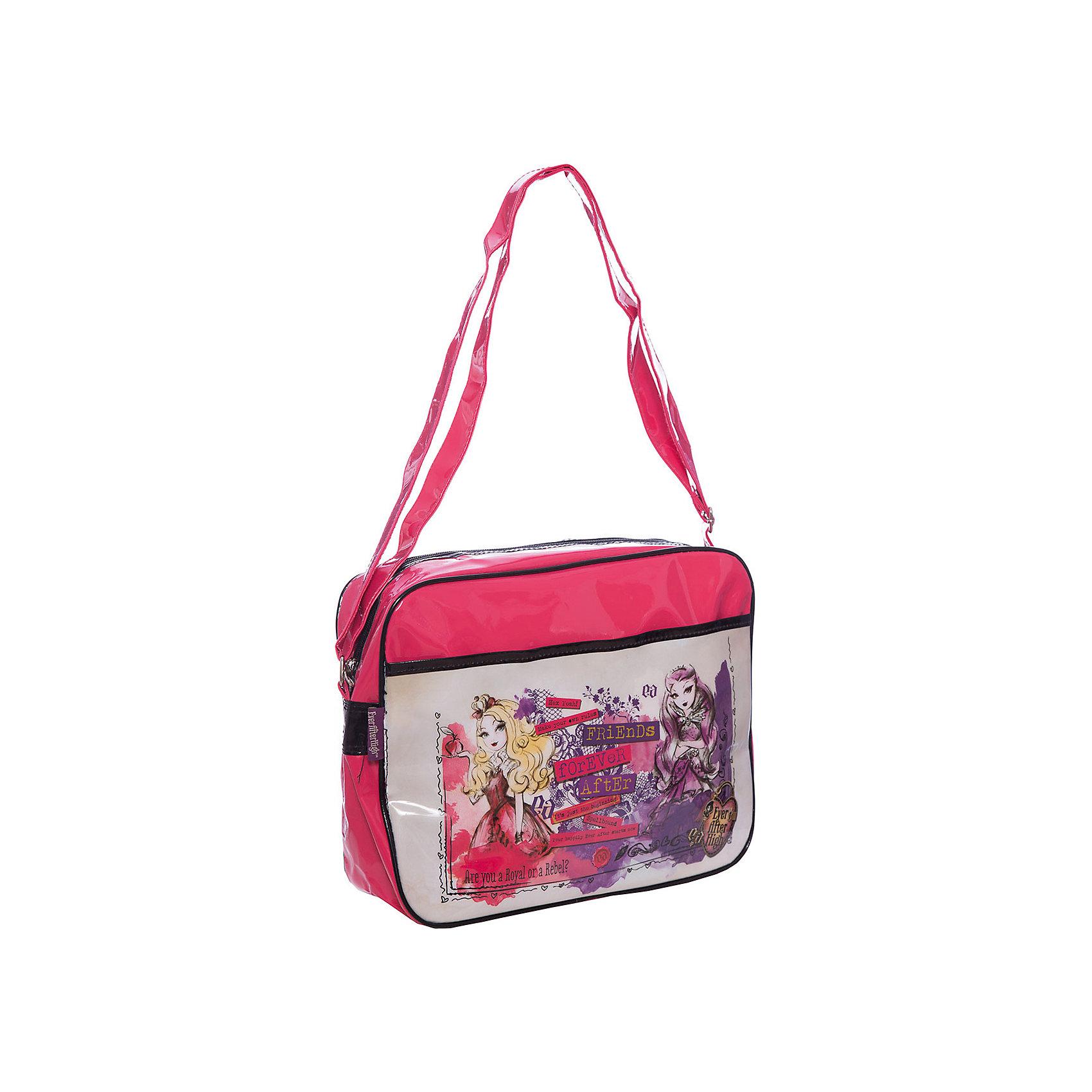 Сумка Lucky bag, Ever After High, Mattel,Школьные сумки<br>Характеристики товара:<br><br>• тип: сумка через плечо<br>• цвет: малиновый<br>• материал: полиэстер<br>• вид застежки: молния<br>• фактура материала: текстильный<br>• размеры : 32х26х8,5 см<br>• количество отсеков: 1 шт.<br>• карманы: внутренний открытый<br>• сезон: круглогодичный<br>• пол: для девочки<br>• страна бренда: США<br>• страна производитель: Китай<br><br>Сумка Lucky bag Mattel Ever After High отделение на молнии, передний карман, регулируемый плечевой ремень лаковая красная серия 26*32*8,5 см.<br><br>Сумку Lucky bag Mattel Ever After High можно купить в нашем интернет-магазине.<br><br>Ширина мм: 380<br>Глубина мм: 400<br>Высота мм: 280<br>Вес г: 320<br>Возраст от месяцев: 48<br>Возраст до месяцев: 96<br>Пол: Женский<br>Возраст: Детский<br>SKU: 5475519