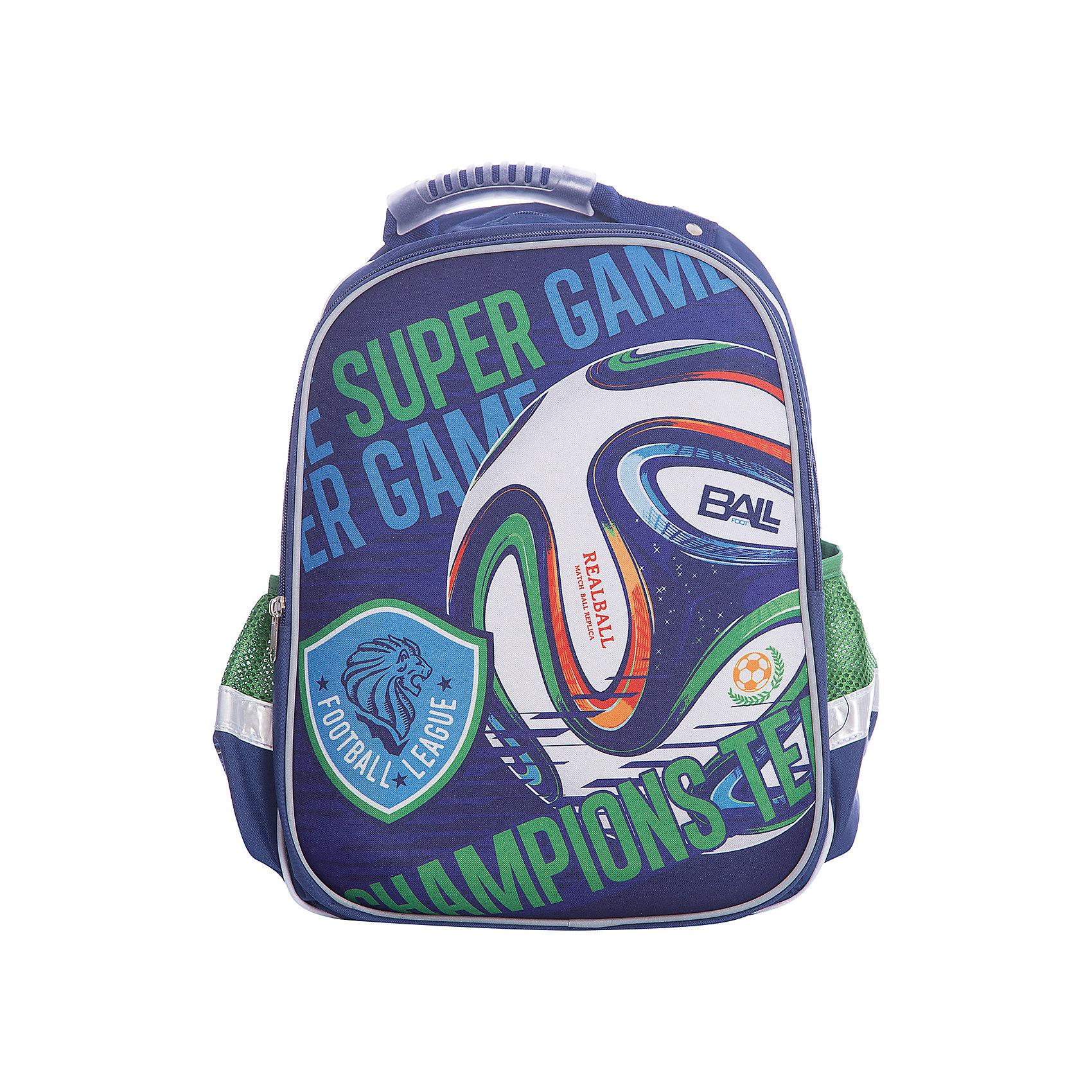 Ранец Super bag Футбол, ортопедическая спинкаРанцы<br>Характеристики товара:<br><br>• тип: рюкзак<br>• цвет: синий<br>• состав: полиэстер 100%<br>• пол: для мальчика<br>• вид застежки: молния<br>• размеры: 42х14х33 см<br>• количество отделений: 3 шт.<br>• сезон: круглогодичный<br>• бренд: Limpopo<br>• страна бренда: США<br>• страна производитель: Китай<br><br>Стильный ранец Super bag Футбол вместительный и в тоже время невероятно легкий и удобный ранец, послужит отличным помошников в учебе для маленького школьника. <br><br>Внутри ранца находятся три больших отделения, снаружи два боковых кармана- сеточки, а дно оснащено устойчивыми ножками, защищающими от воды и грязи. <br><br>Красочный передний клапан выполнен EVA-материала, который обеспечивает долговечность и износоустйчивость ранца. <br><br>Модель ранца Super bag Футбол соответствует всем необходимым для здоровья и безопасности ребенка требованиям, а именно расположенными на лямках и передней части ранца светоотражающими элементами, широкими регулируемыми лямками, а также эргономичной спинкой, повторяющей естественный изгиб позвоночника.<br><br>Ранец Super bag Футбол, с ортопедической спинкой торговой марки Limpopo можно купить в нашем интернет-магазине.<br><br>Ширина мм: 330<br>Глубина мм: 4200<br>Высота мм: 140<br>Вес г: 730<br>Возраст от месяцев: 48<br>Возраст до месяцев: 96<br>Пол: Мужской<br>Возраст: Детский<br>SKU: 5475523