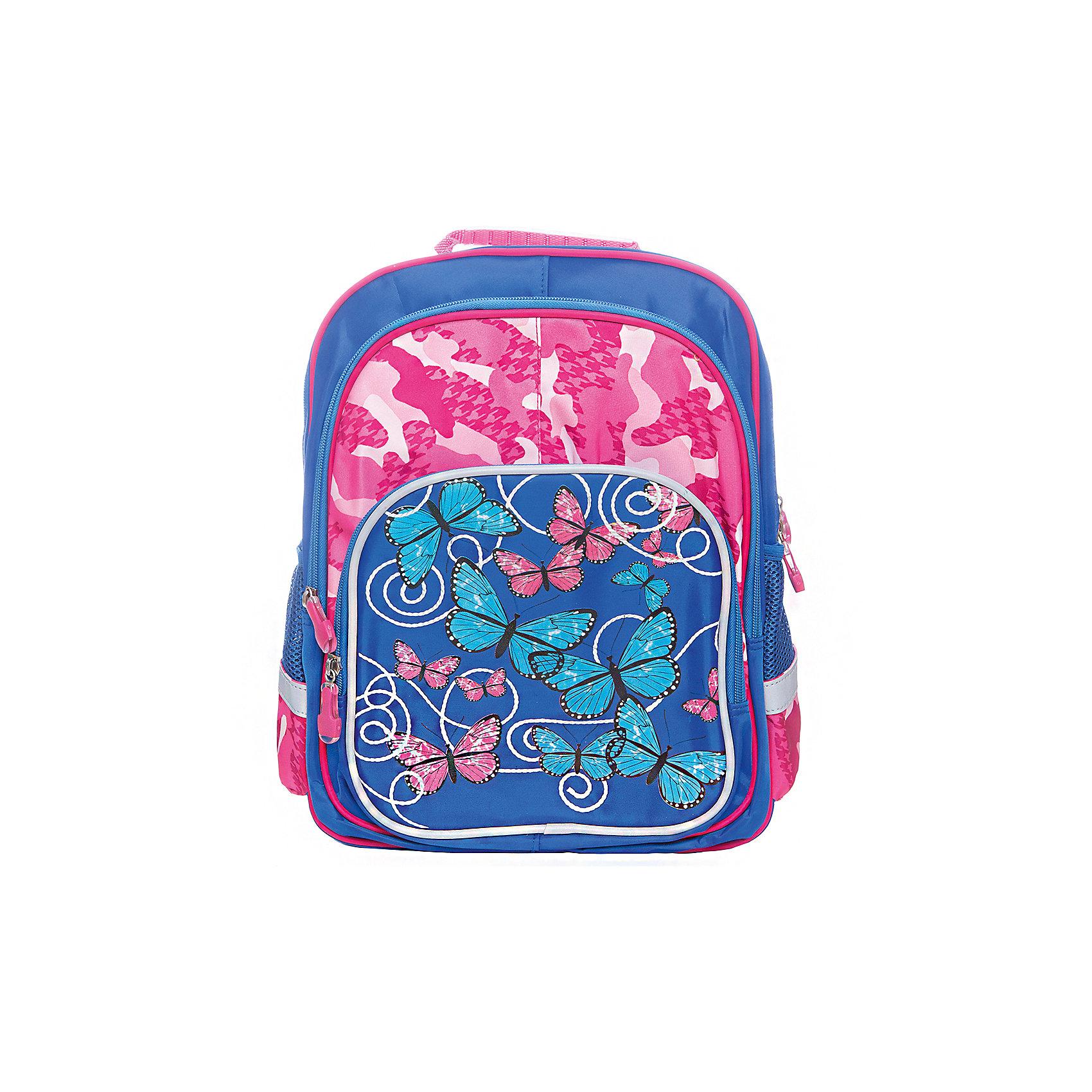 Рюкзак с тремя отделениями Junior Prime Бабочки-цветочки, ортопедическая спинкаРюкзак для младшей школы Junior Prime Бабочки-цветочки удобная, практичная, легкая модель, выполненная в ярком и модном дизайне и отличающаяся всеми необходимыми для комфортной учебы характеристиками. Снаружи ранец оснащен двумя боковыми карманами- сеточками  одним передним карманом на замке, а также устойчивым дном на ножках, защищающим от загрязнения. Внутри ранца находятся два вместительных отдела. Модель рюкзака Junior Prime Бабочки-цветочки соответствует всем необходимым для здоровья и безопасности ребенка требованиям, а именно расположенными на лямках и передней части ранца светоотражающими элементами, широкими регулируемыми лямками, а также эргономичной спинкой, повторяющей естественный изгиб позвоночника.<br><br>Ширина мм: 400<br>Глубина мм: 400<br>Высота мм: 320<br>Вес г: 750<br>Возраст от месяцев: 48<br>Возраст до месяцев: 96<br>Пол: Женский<br>Возраст: Детский<br>SKU: 5475527