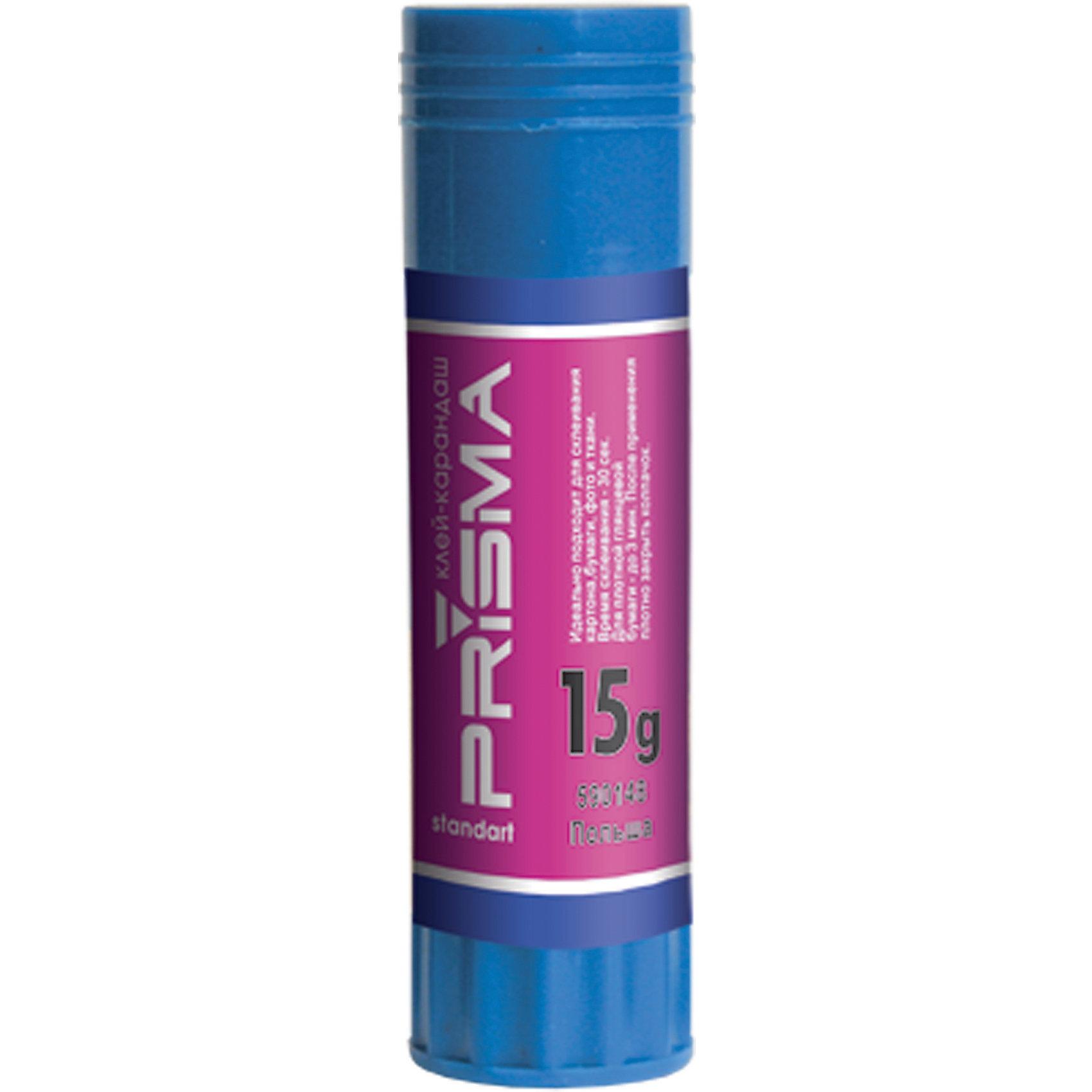 Клей-карандаш Prisma, 15 гр.Клей-карандаш Prisma предназначен для склеивания картона 330г., бумаги любой плотности, фото и ткани. Основа клея обладает мягкой структурой и содержит глицерин для легкого скольжения. Легко смывается водой и отстирывается, не имеет запаха. Простой и удобный механизм, расположенный в основании стержня, позволяет легко выкрутить и закрутить столбик клея. Вес - 15г. Не содержит цветовых пигментов (бесцветный). Нетоксичен и экологичен. Суперпрочное склеивание. Время склеивания  - 30 секунд, для глянцевой бумаги - до 3-х минут.<br><br>Ширина мм: 90<br>Глубина мм: 200<br>Высота мм: 20<br>Вес г: 31<br>Возраст от месяцев: 48<br>Возраст до месяцев: 2147483647<br>Пол: Унисекс<br>Возраст: Детский<br>SKU: 5475530