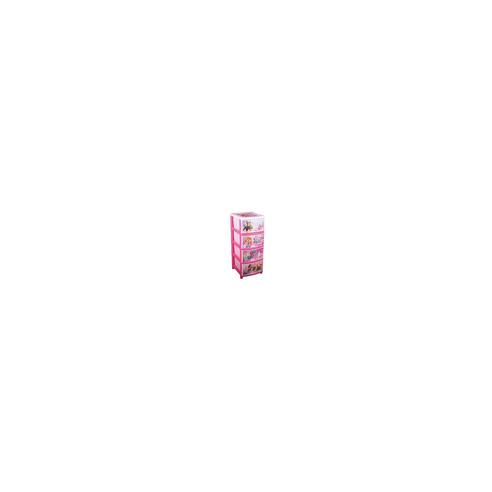 Комод Щенячий патруль №1 для девочек 4-х секц. , AlternativaКомод Щенячий патруль №1 для девочек 4-х секц. , Alternativa (Альтернатива)<br><br>Характеристики:<br><br>• 4 вместительных отделения<br>• удобные ручки-выемки<br>• нескользящие ножки<br>• красочное изображение героев мультфильма Щенячий патруль<br>• размер: 48х38х98 см<br>• цвет: розовый<br>• вес: 3,4 кг<br><br>Юные поклонницы мультфильма Щенячий патруль непременно порадуются яркому комоду с изображением любимых собачек. Комод имеет четыре вместительные секции с удобными полукруглыми ручками-выемками. Комод подойдет для детского белья, игрушек или других необходимых предметов. Комод изготовлен из прочного пластика с нанесенным рисунком и имеет четыре нескользящие ножки. Он станет прекрасным украшением и полезной мебелью для детской комнаты.<br><br>Комод Щенячий патруль №1 для девочек 4-х секц. , Alternativa (Альтернатива) можно купить в нашем интернет-магазине.<br><br>Ширина мм: 480<br>Глубина мм: 380<br>Высота мм: 980<br>Вес г: 3400<br>Возраст от месяцев: 36<br>Возраст до месяцев: 1188<br>Пол: Женский<br>Возраст: Детский<br>SKU: 5475641