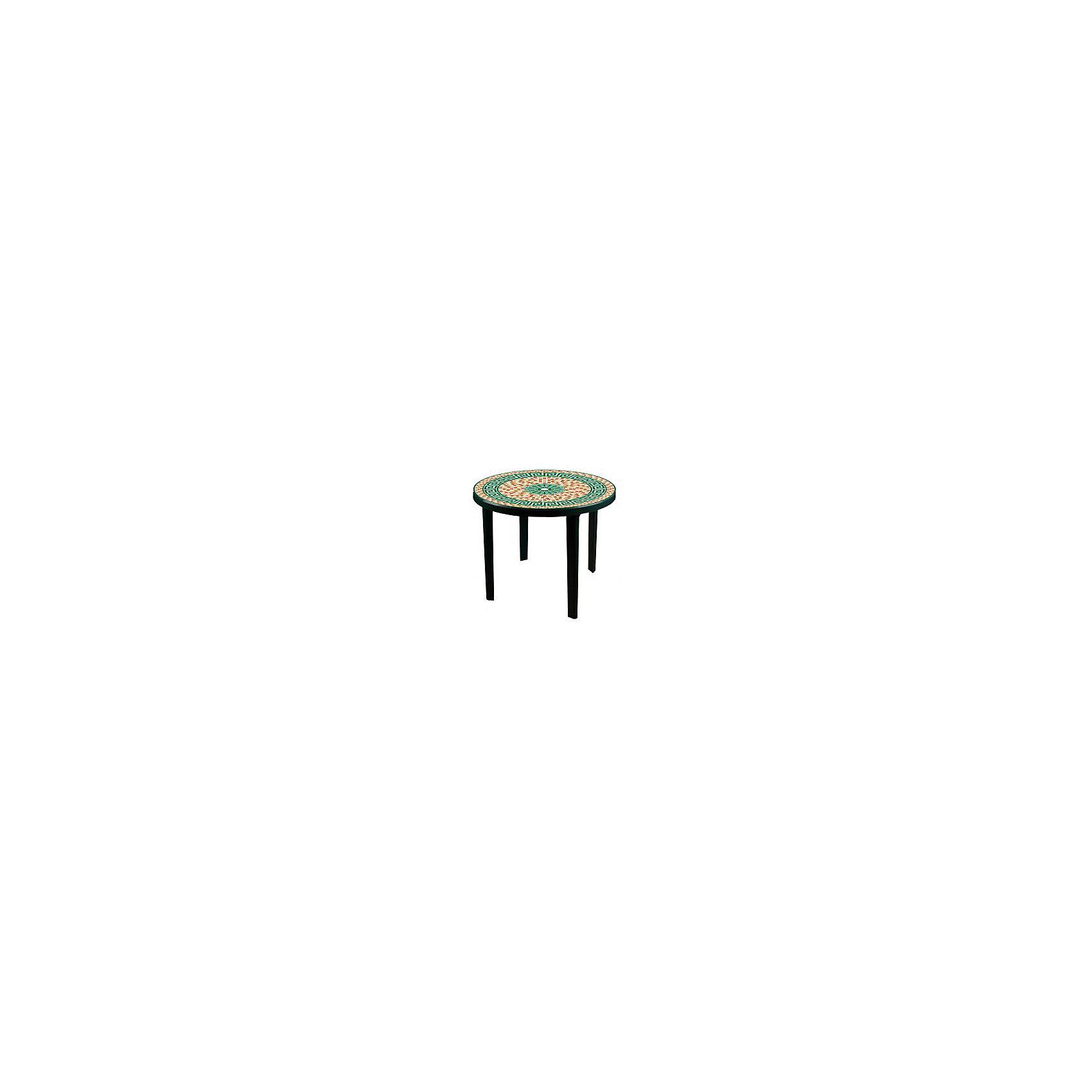 Стол Мозаика кругл.900х900х750, Alternativa, тёмно-зеленыйМебель<br>Стол Мозаика кругл.900х900х750, Alternativa (Альтернатива), тёмно-зеленый<br><br>Характеристики:<br><br>• яркий узор на поверхности<br>• цвет: темно-зеленый<br>• форма: круглый<br>• диаметр: 90 см<br>• размер: 90х90х75 см<br>• материал: полипропилен<br>• вес: 4,584 кг<br><br>Мозаика - круглый стол из полипропилена от российского производителя Альтернатива. Стол имеет устойчивые ножки и мозаичный узор на поверхности. Диаметр стола - 90 см. Он отлично впишется в любое помещение или подойдет для отдыха на природе. <br><br>Стол Мозаика кругл.900х900х750, Alternativa (Альтернатива), тёмно-зеленый можно купить в нашем интернет-магазине.<br><br>Ширина мм: 900<br>Глубина мм: 900<br>Высота мм: 750<br>Вес г: 4584<br>Возраст от месяцев: 216<br>Возраст до месяцев: 1188<br>Пол: Унисекс<br>Возраст: Детский<br>SKU: 5475672