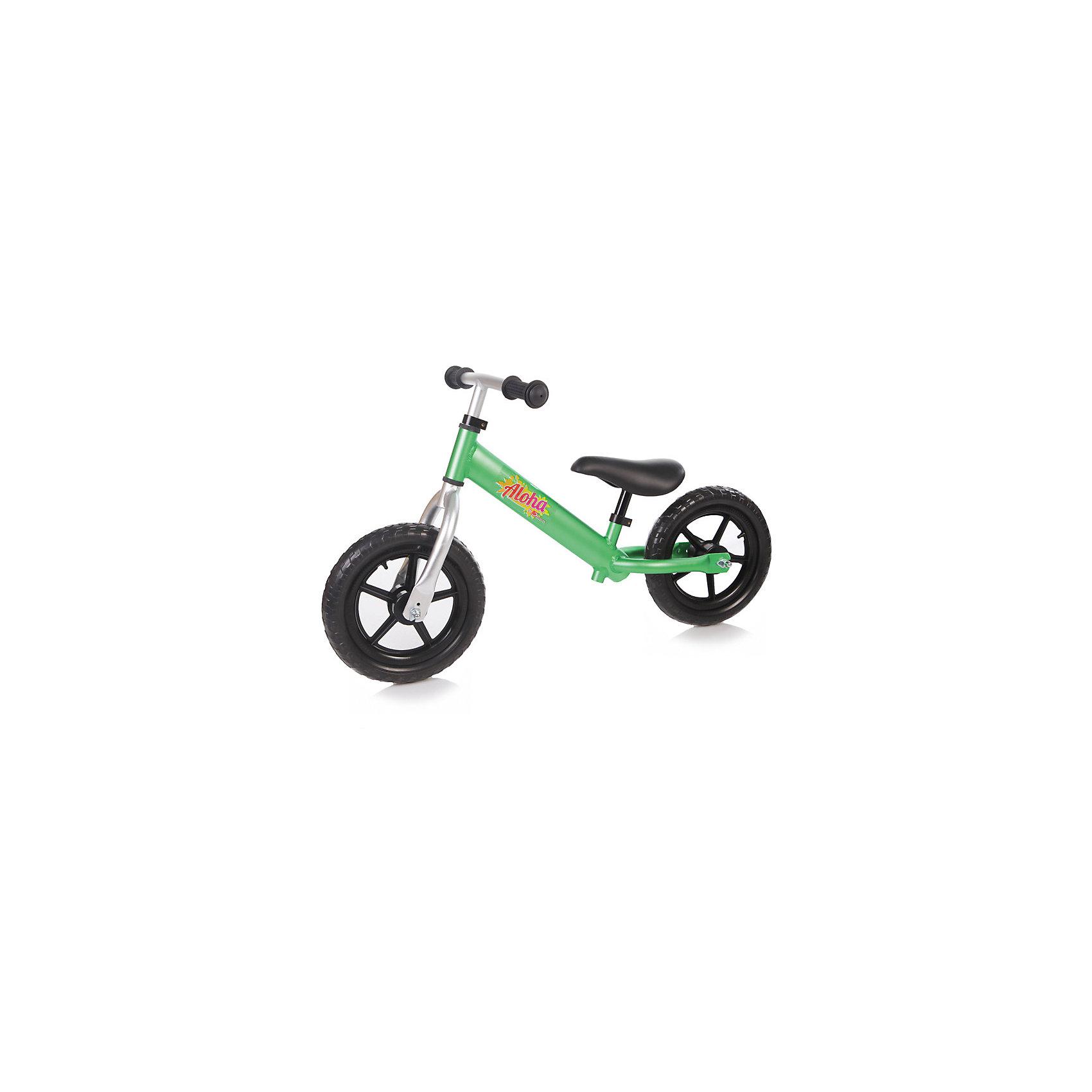 Беговел детский ALOHA зелёный, JetemJetem, Беговел детский ALOHA – беговел на 12-дюймовых колесах без тормоза и без подножки с алюминиевой рамой. Лучший способ разнообразить летнюю прогулку с ребенком. Высоту руля и сидения можно регулировать.Беговелы – это детские двухколесные велосипеды, у которых нет педалей. Они совмещают в себе черты велосипеда и самоката и помогают держать равновесие. Особенности:· 12 дюймовые колеса из пластика с покрышкой из EVA· эргономичное сидение с мягкой накладкой· алюминиевая рама· без тормоза· без подножки· сиденье регулируется по высоте· руль регулируется по высоте Характеристики:· диаметр колес — 12 дюймов·  предназначен для детей от 3 лет до 27кг·вес: 2,1кг·  размер беговела: 83х38х54см· минимальная высота руля от земли 48см·   максимальная высота руля от земли 56см<br><br>Ширина мм: 630<br>Глубина мм: 160<br>Высота мм: 290<br>Вес г: 2700<br>Возраст от месяцев: 24<br>Возраст до месяцев: 72<br>Пол: Унисекс<br>Возраст: Детский<br>SKU: 5475690