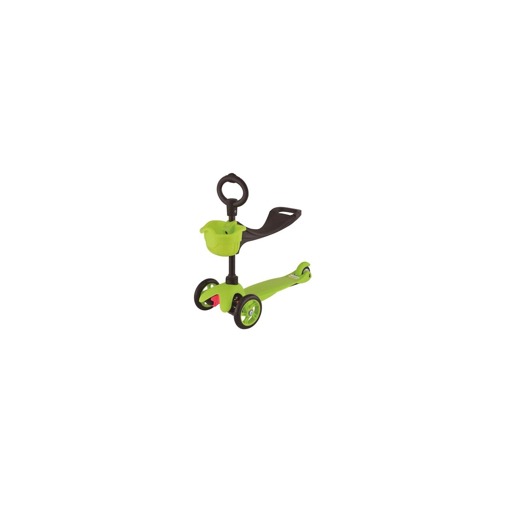 Самокат 3-х колёсный с сидением Maxi Scooter, зелёный, 21st scooTerСамокаты<br>Характеристики товара:<br><br>• возраст: от 1 года;<br>• максимальная нагрузка: 30 кг;<br>• материал: пластик, алюминий;<br>• материал колес: полиуретан;<br>• диаметр передних колес: 120 мм;<br>• диаметр заднего колеса: 80 мм;<br>• размер деки: 52х11 см;<br>• размер самоката: 67х23х53,5 см;<br>• вес самоката: 2,8 кг;<br>• размер упаковки: 61х45х39 см;<br>• вес упаковки: 3 кг;<br>• страна производитель: Китай.<br><br>Самокат трехколесный с сидением Maxi Scooter 21st ScooTer зеленый позволит весело и активно провести время на прогулке и поспособствует физическому развитию ребенка. Самокат подойдет для детей, которые только учатся кататься на самокате. <br><br>Для самых маленьких на самокат крепится сидение. Сидя на нем, малыш отталкивается от земли и осваивает базовые навыки катания. Затем сидение снимается, и самокат используется в качестве традиционного самоката.<br><br>Платформа выполнена из прочного пластика с рифленой поверхностью. Подшипники позволяют смягчить тряску по неровному дорожному покрытию. На руле имеется небольшая корзинка для мелочей и игрушек.<br><br>Самокат трехколесный с сидением Maxi Scooter 21st ScooTer зеленый можно приобрести в нашем интернет-магазине.<br><br>Ширина мм: 610<br>Глубина мм: 450<br>Высота мм: 390<br>Вес г: 3100<br>Возраст от месяцев: 24<br>Возраст до месяцев: 2147483647<br>Пол: Унисекс<br>Возраст: Детский<br>SKU: 5475700